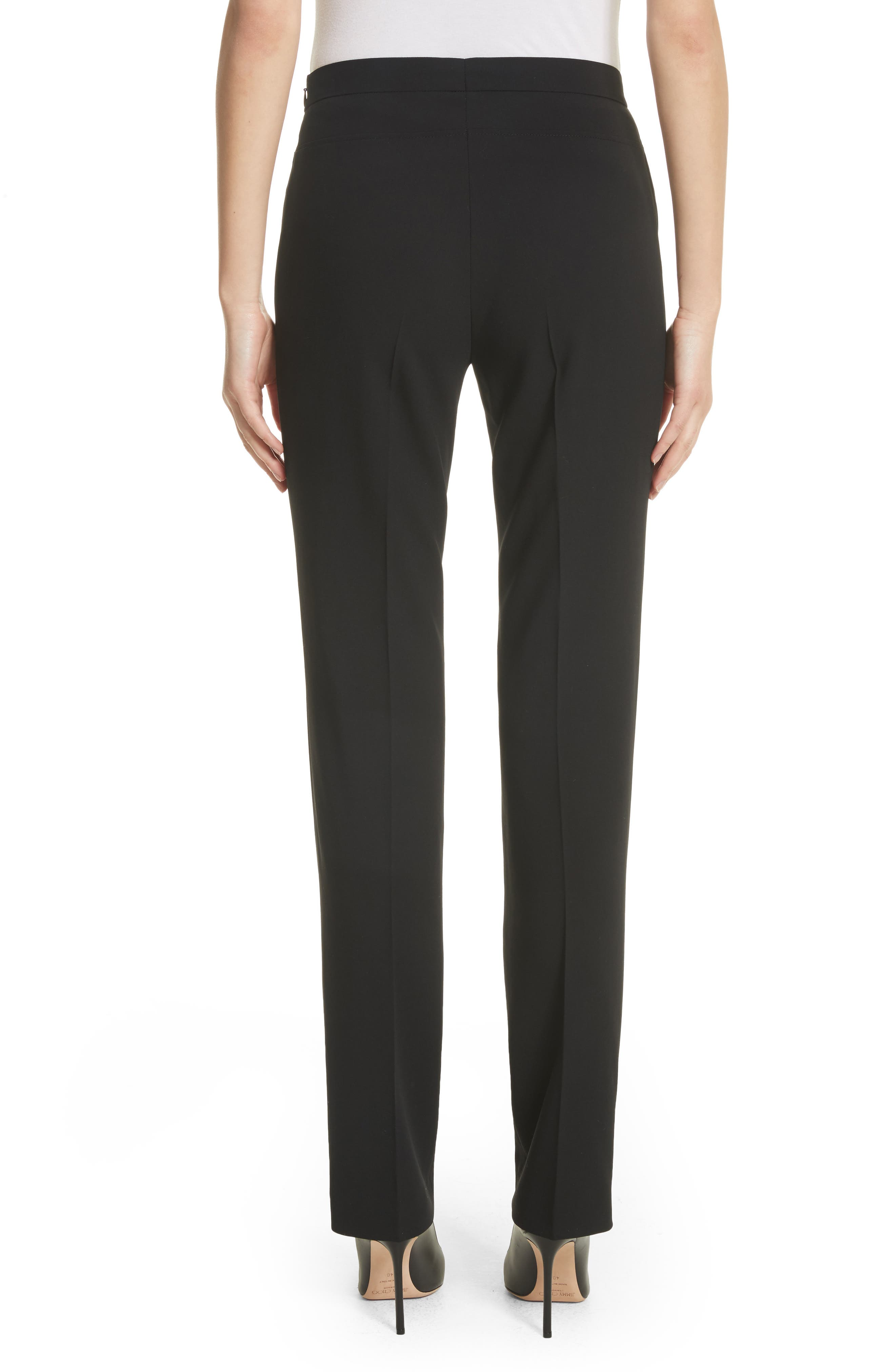 Francoise Wool Straight Leg Pants,                             Alternate thumbnail 2, color,                             Black
