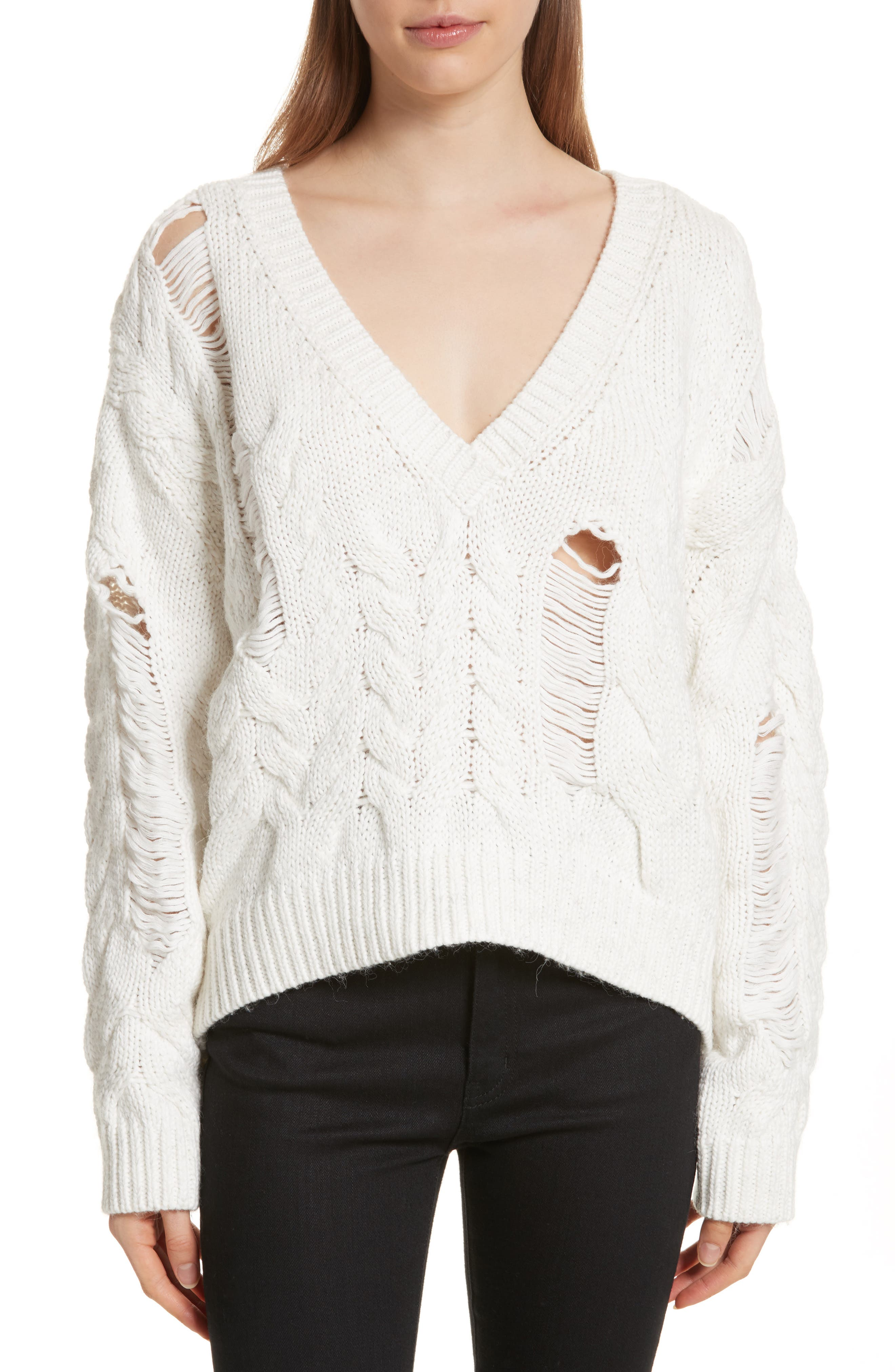 Fighla Distressed Sweater,                             Main thumbnail 1, color,                             Ecru