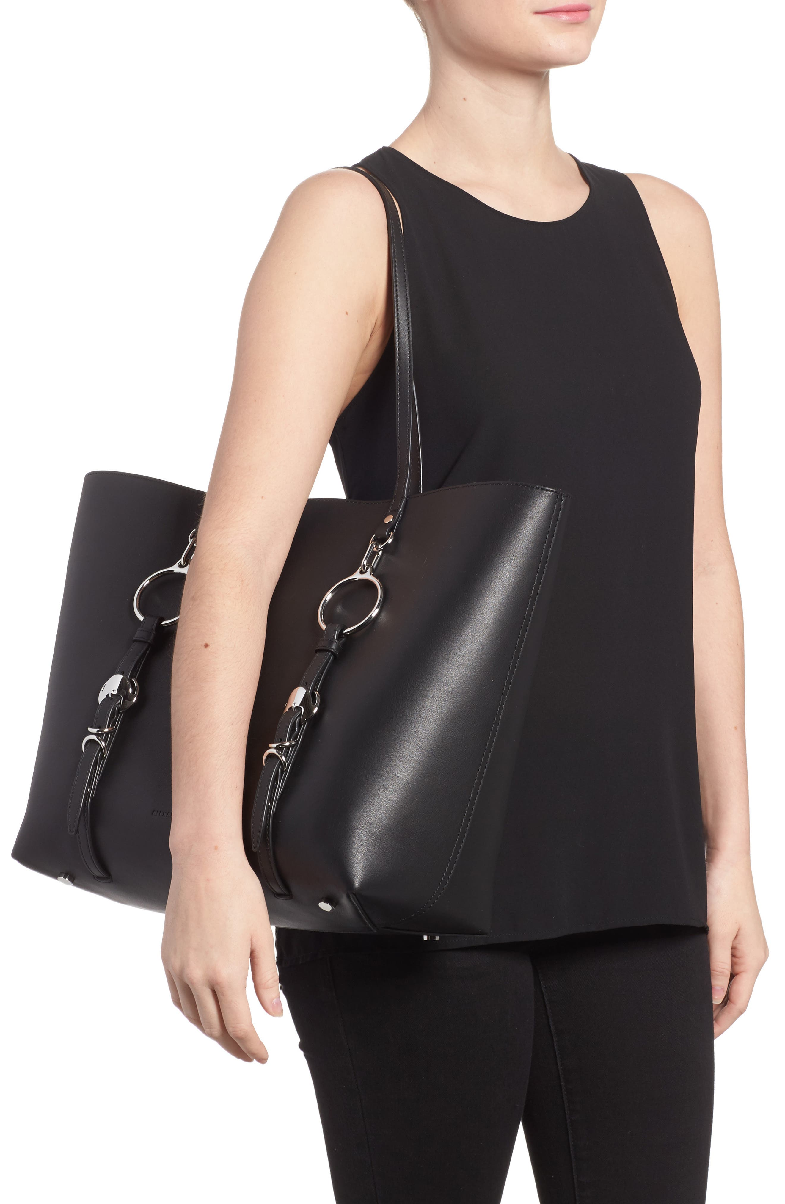 Ace Leather Tote,                             Alternate thumbnail 2, color,                             Black