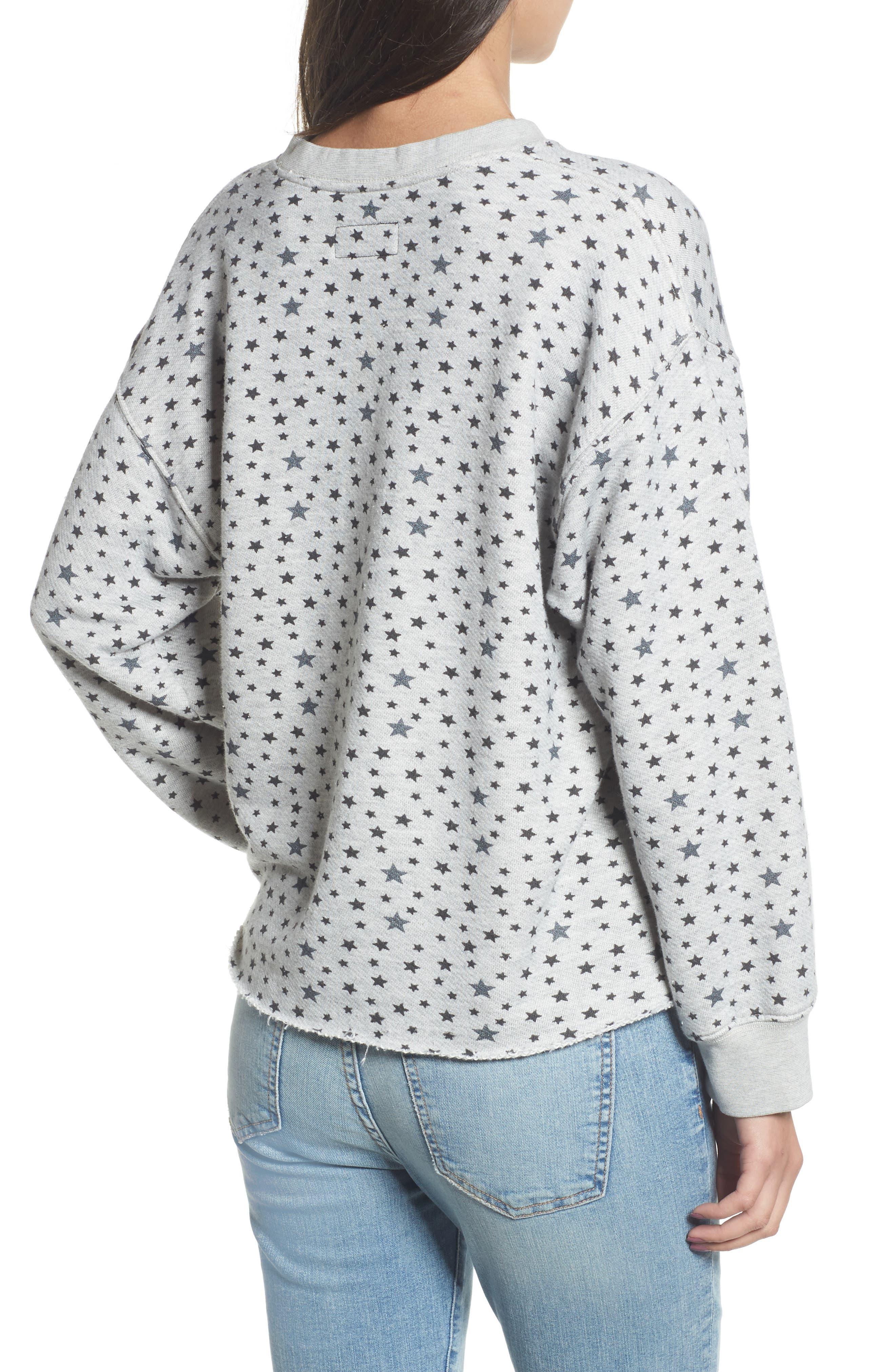 The Slouchy Crop Sweatshirt,                             Alternate thumbnail 2, color,                             Mixed Star Print