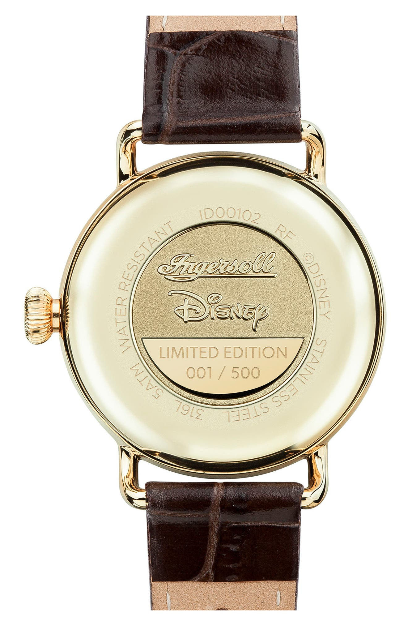 Ingersoll Trenton Disney Leather Strap Watch, 31mm,                             Alternate thumbnail 2, color,                             Brown/ White/ Gold