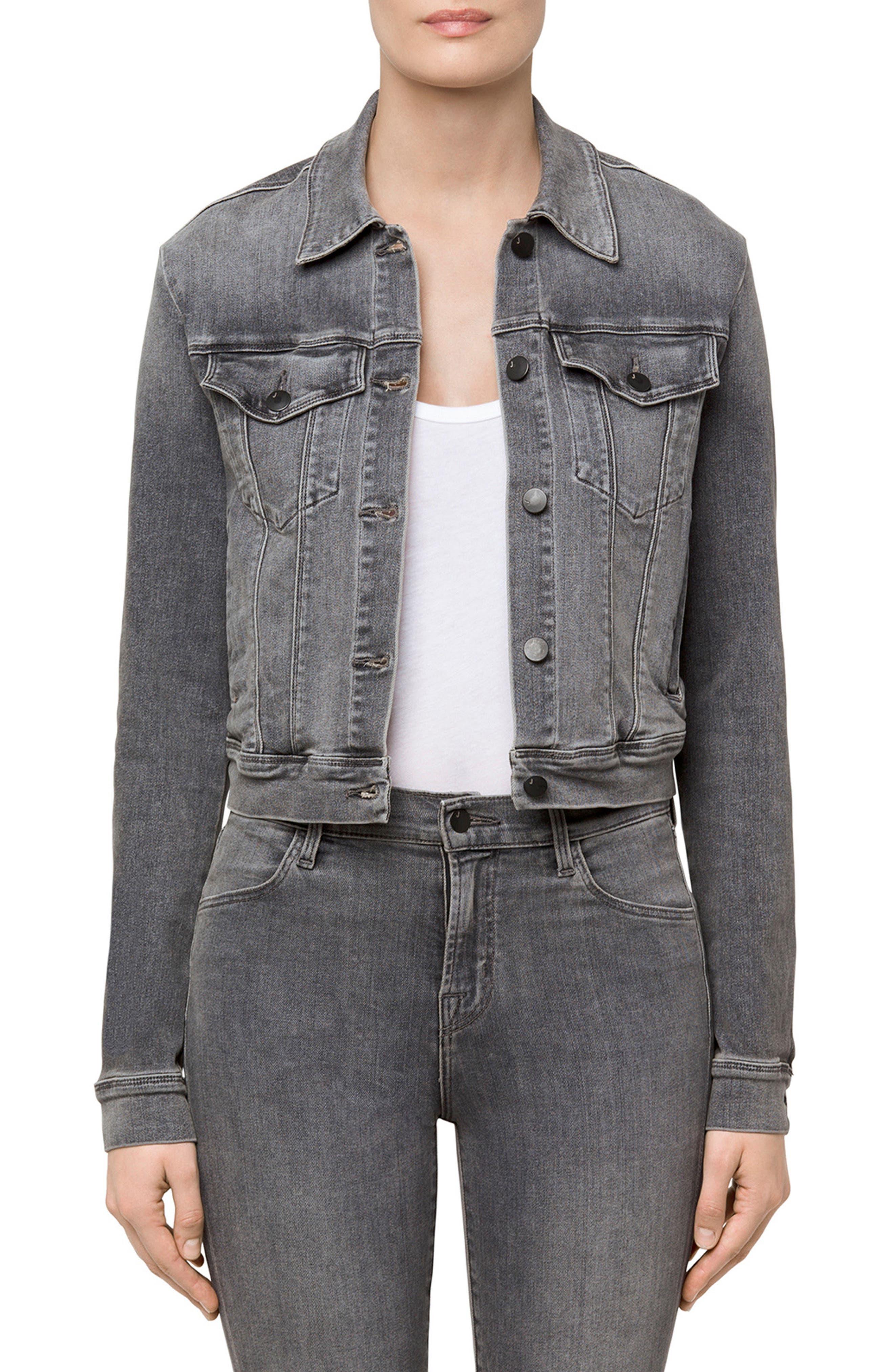 Harlow Shrunken Denim Jacket,                         Main,                         color, Earl Grey