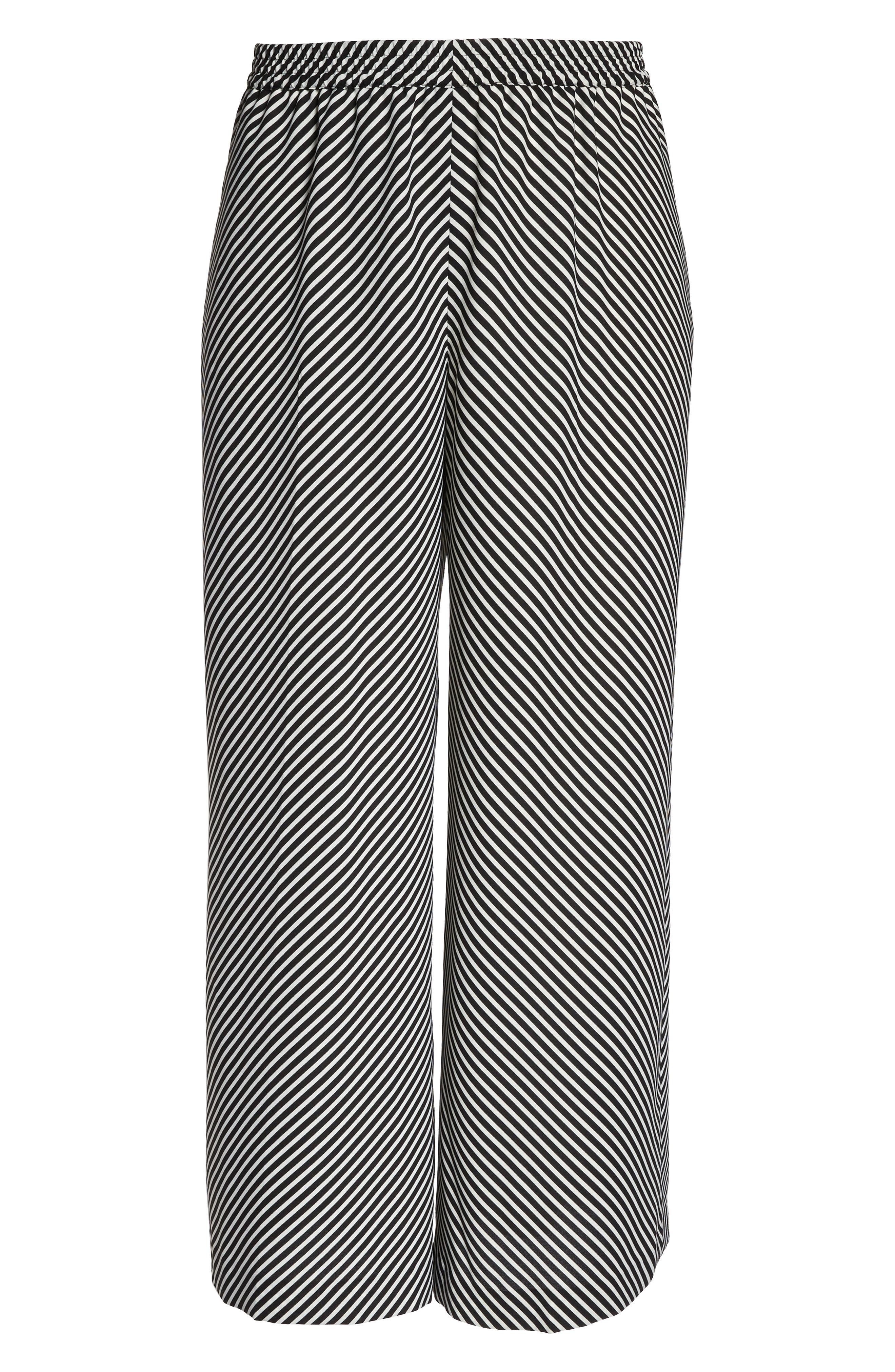 Diagonal Stripe Wide Leg Pants,                             Alternate thumbnail 7, color,                             Rich Black