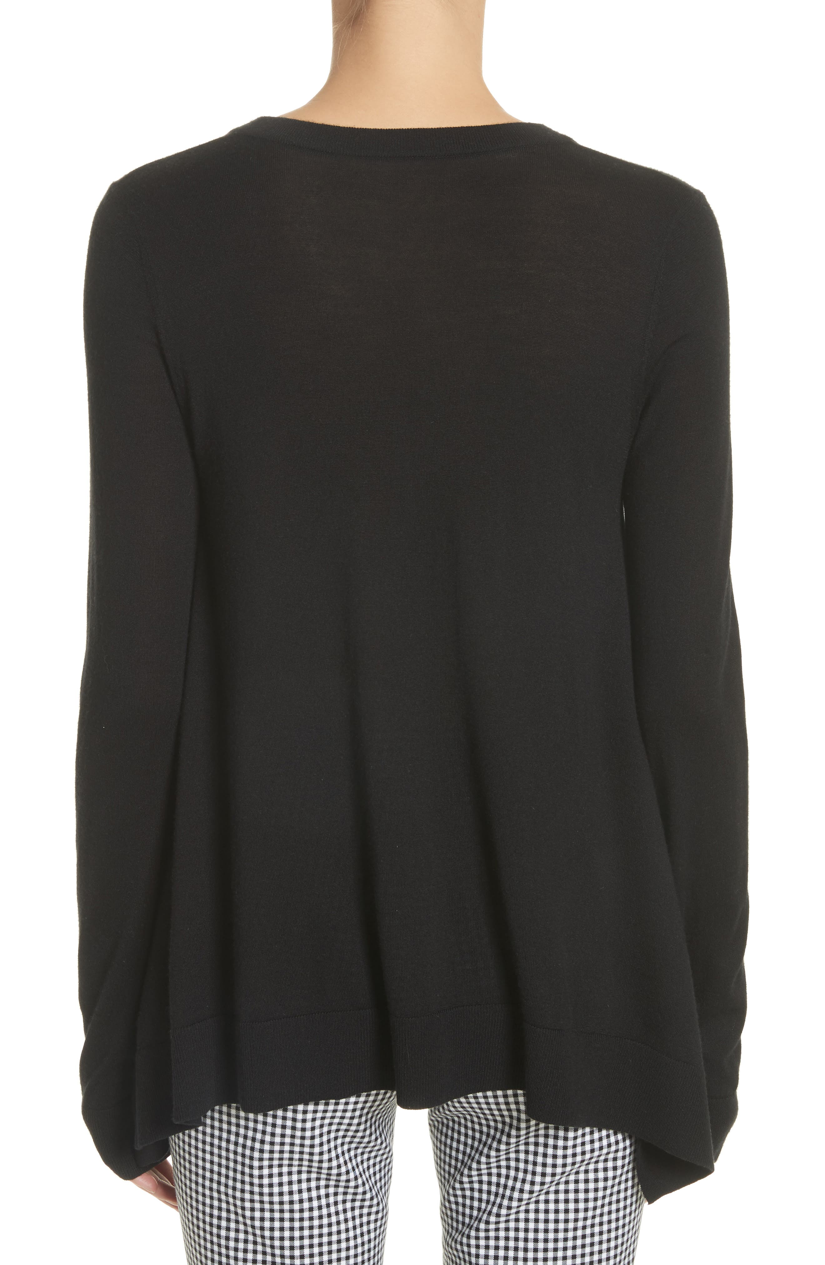 Draped Wool, Silk & Cashmere Sweater,                             Alternate thumbnail 2, color,                             Black