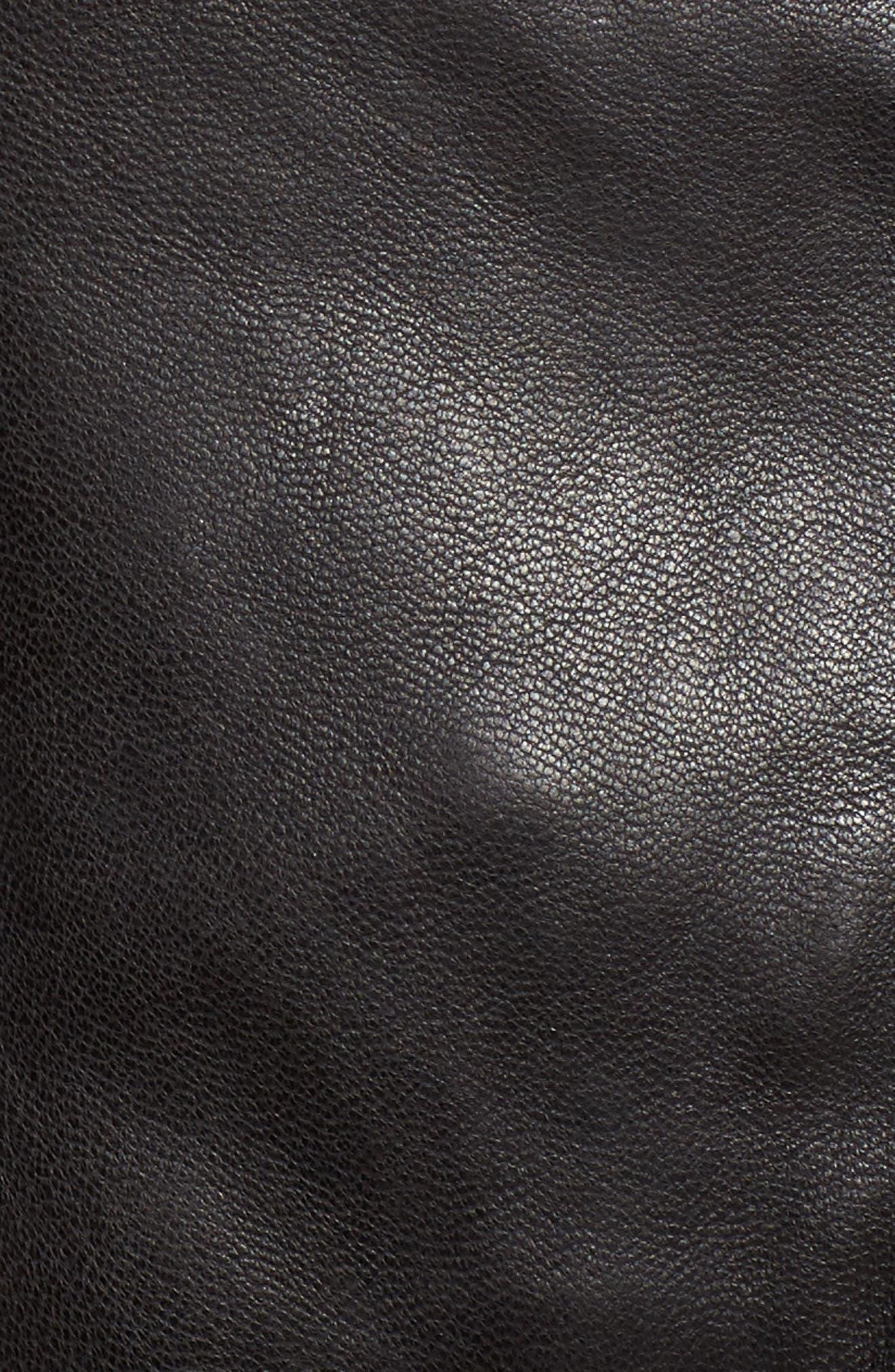 Crop Leather Biker Jacket,                             Alternate thumbnail 5, color,                             Black