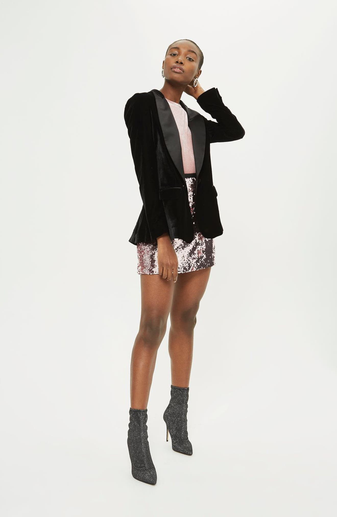 Sequin Miniskirt,                             Alternate thumbnail 2, color,                             Light Pink