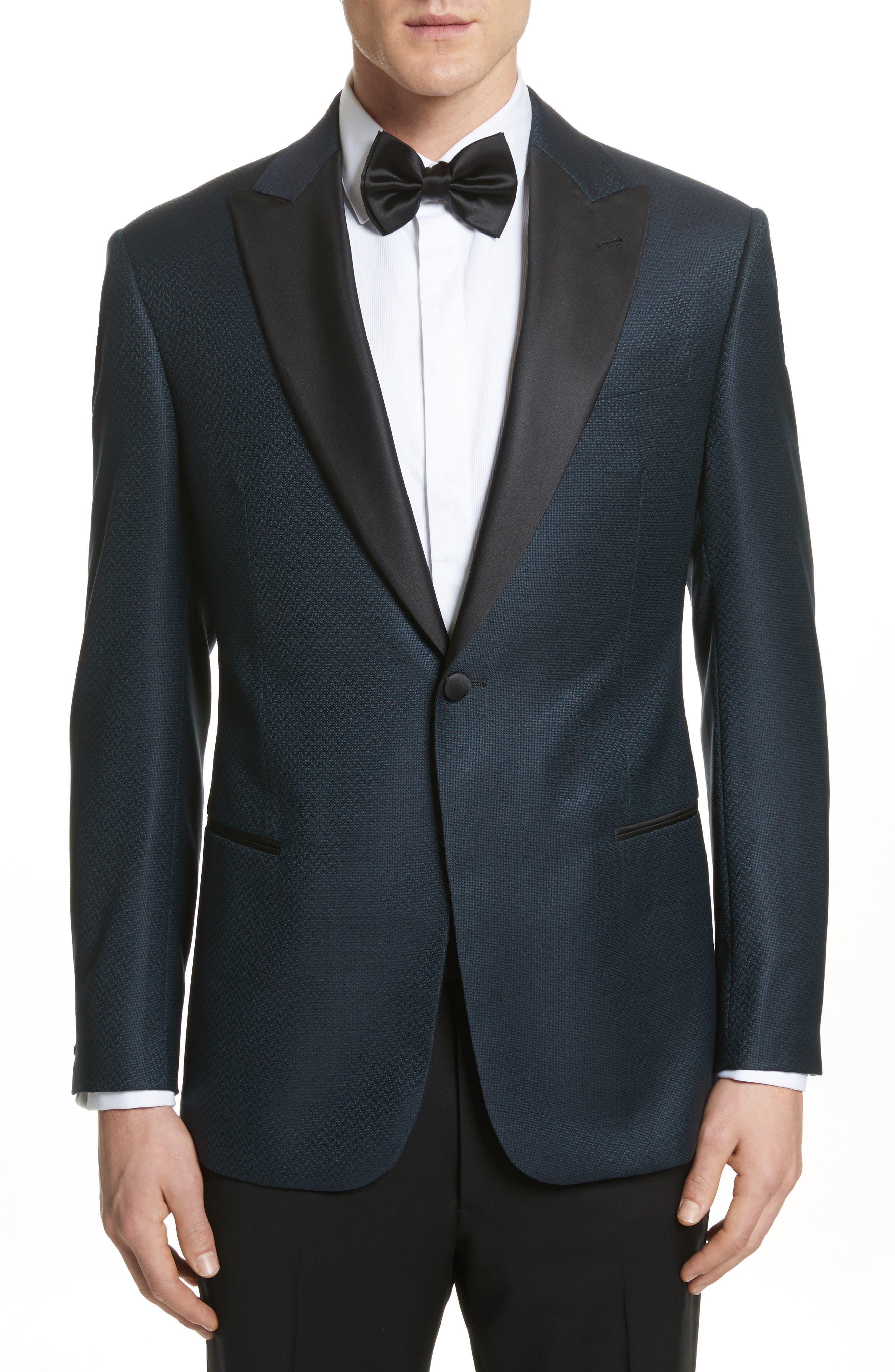 G-Line Trim Fit Wool Dinner Jacket,                             Main thumbnail 1, color,                             Blue