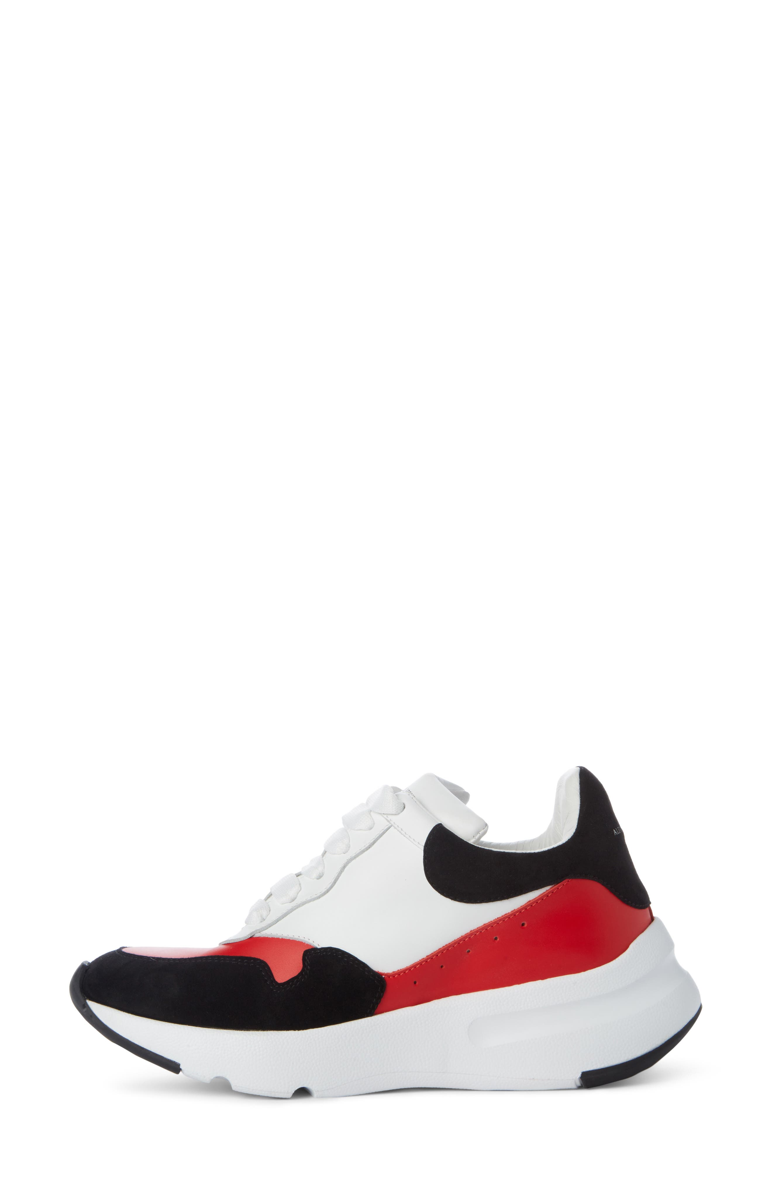 Runner Lace-Up Sneaker,                             Alternate thumbnail 3, color,                             Black/ Red/ White