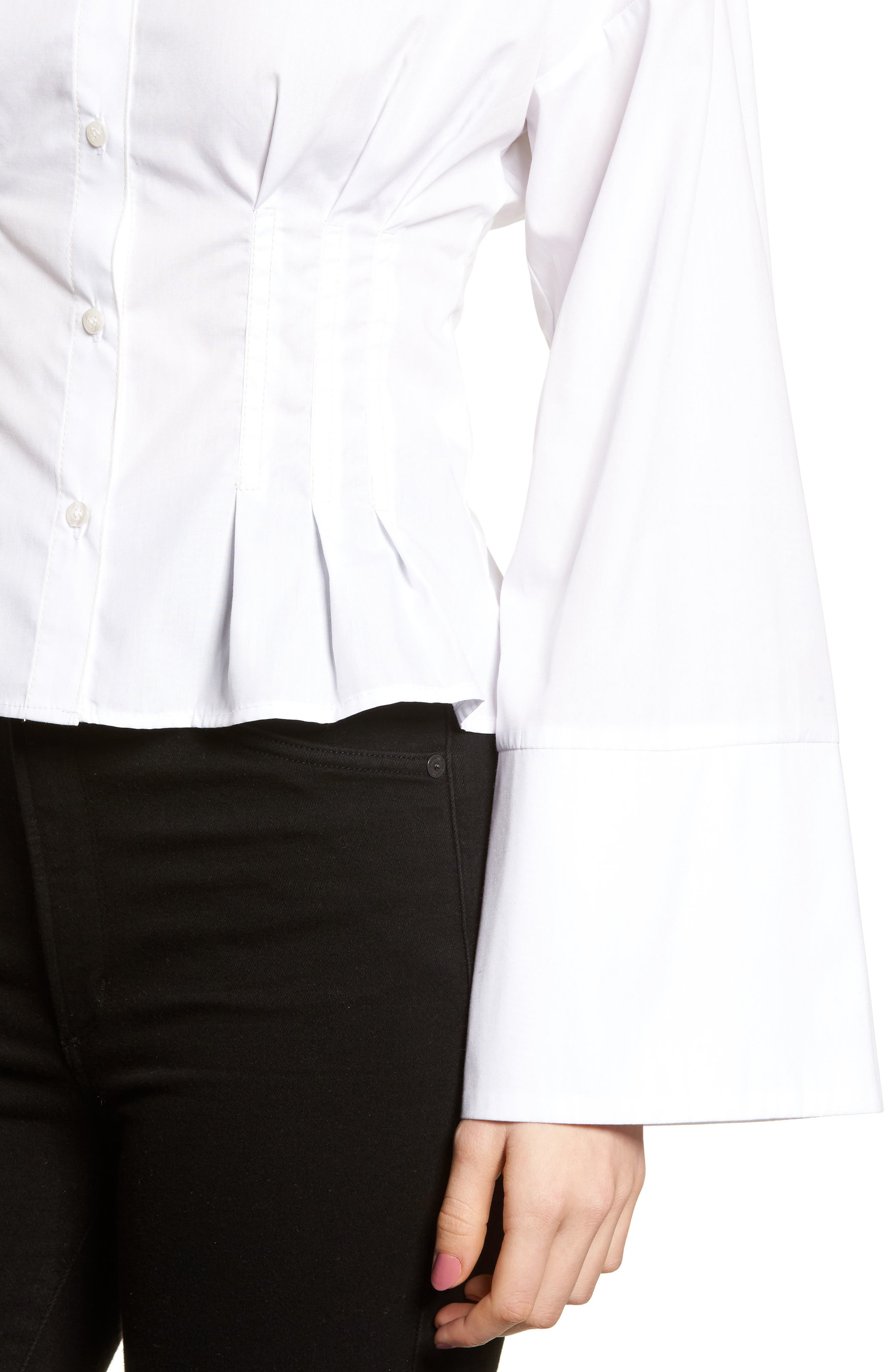 Tuck Waist Corset Shirt,                             Alternate thumbnail 4, color,                             Ivory