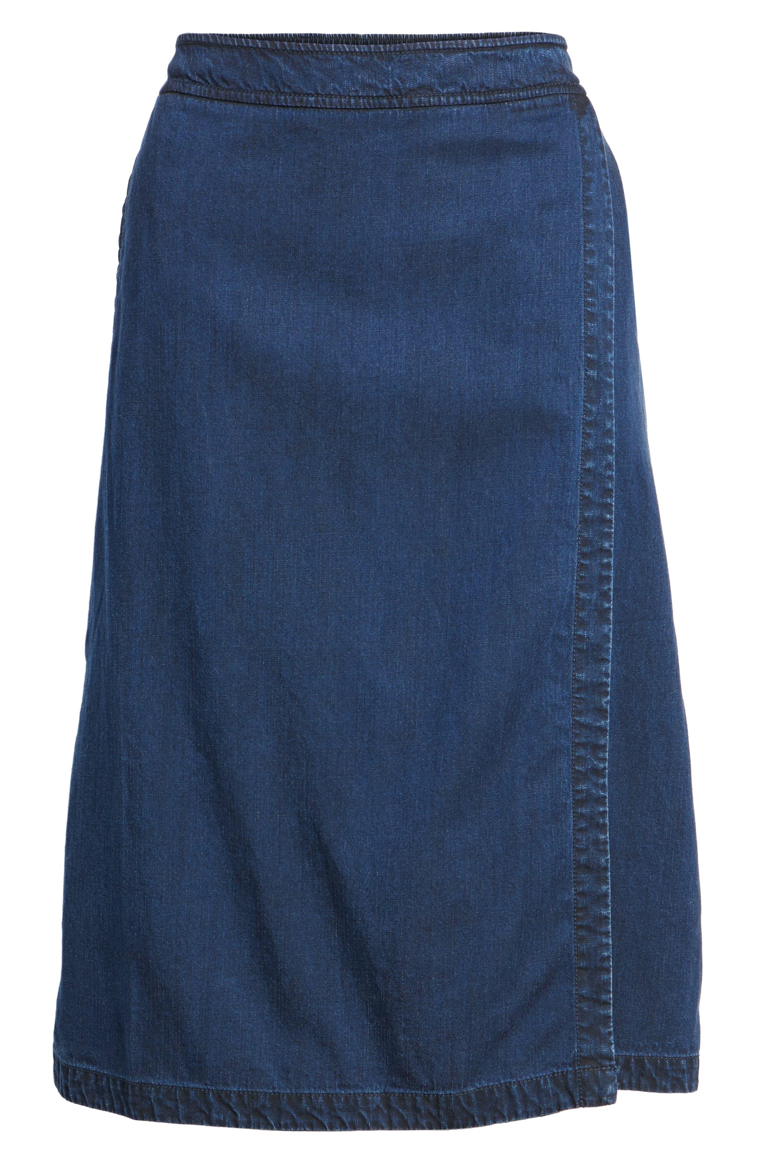 Faux Wrap Denim Skirt,                             Alternate thumbnail 6, color,                             Midnight