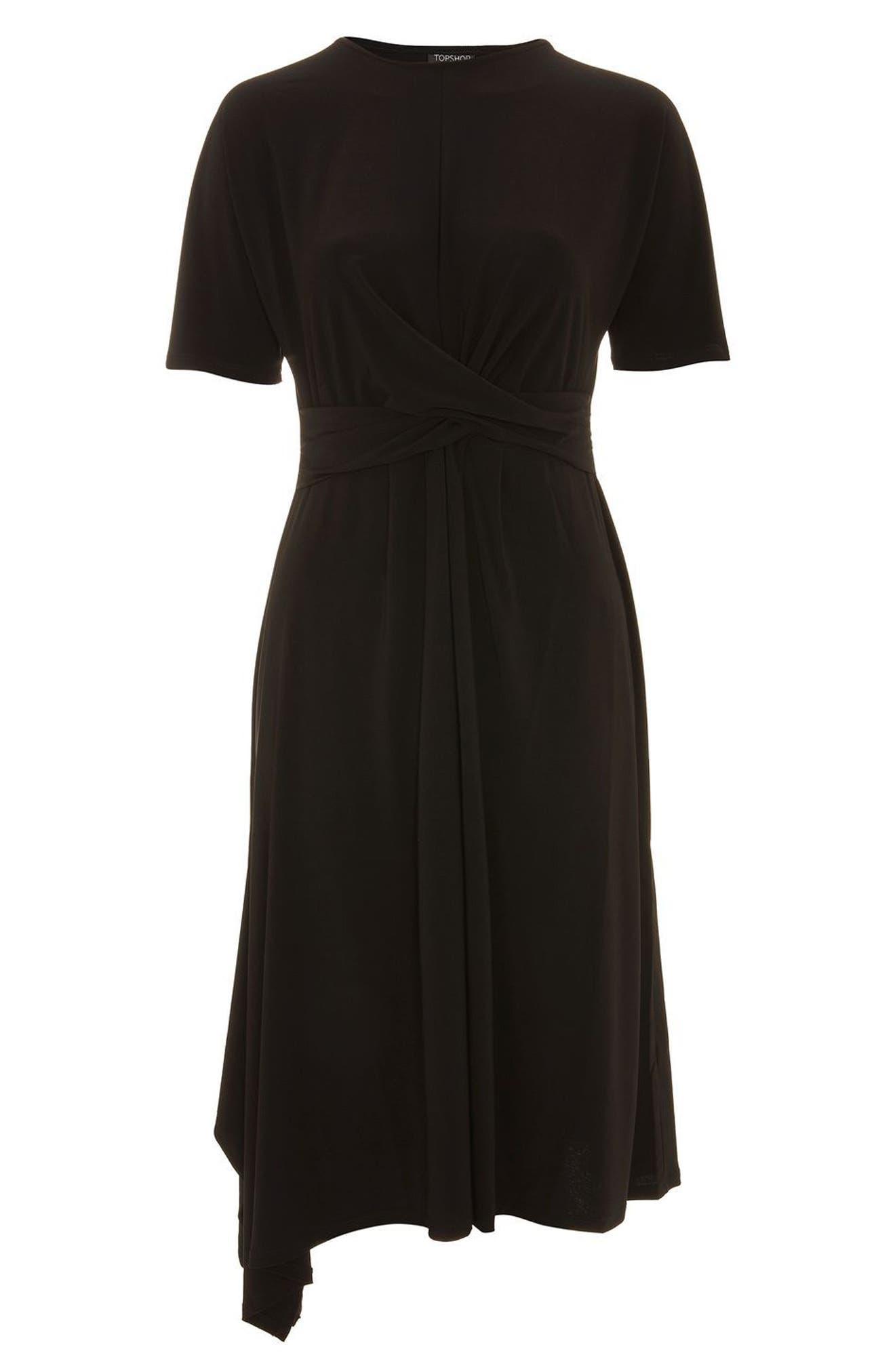 Twist Front Jersey Midi Dress,                             Alternate thumbnail 3, color,                             Black