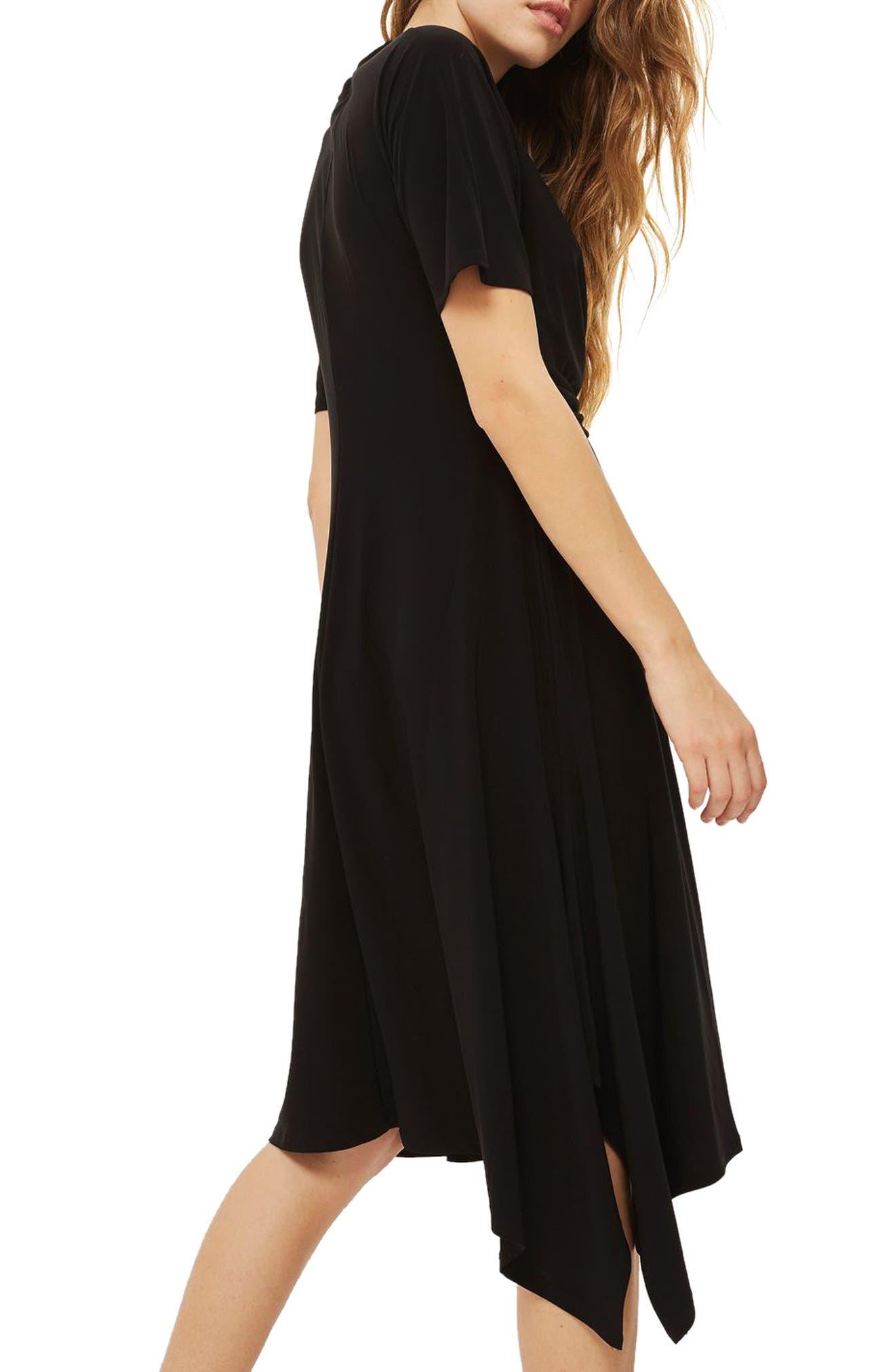Twist Front Jersey Midi Dress,                             Alternate thumbnail 2, color,                             Black
