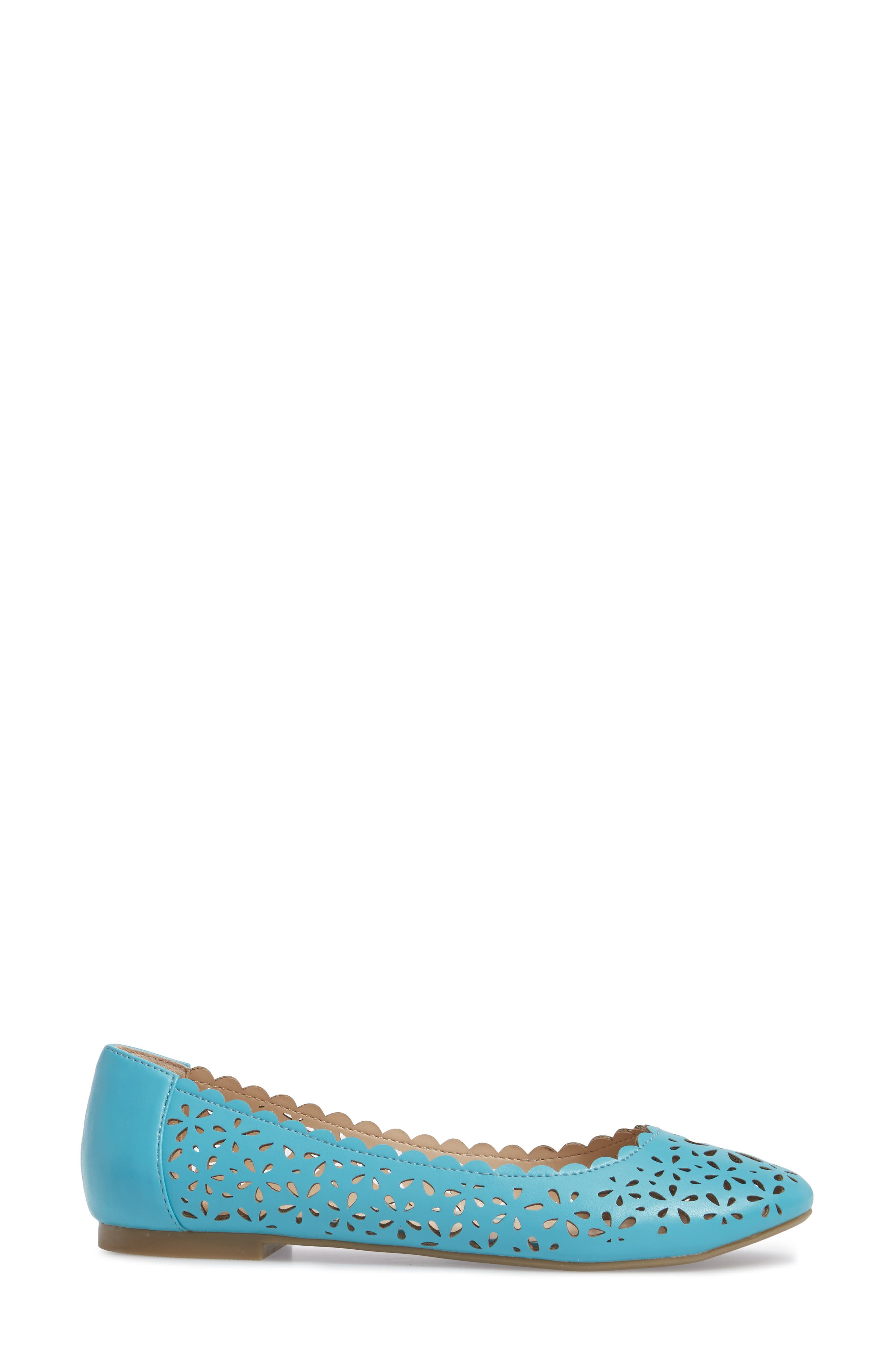 Annora Perforated Flat,                             Alternate thumbnail 3, color,                             Teal Fabric