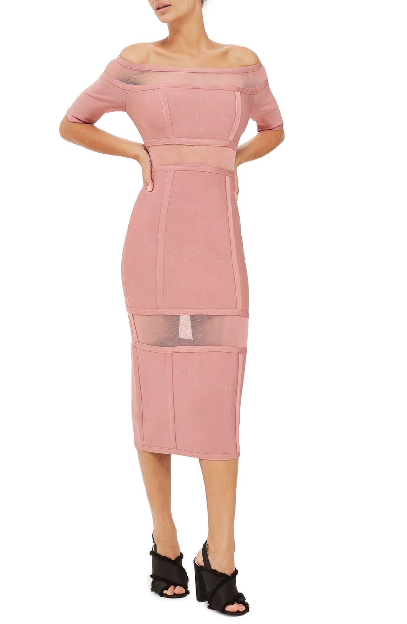 Sheer Panel Off the Shoulder Body-Con Midi Dress,                             Main thumbnail 1, color,                             Pink