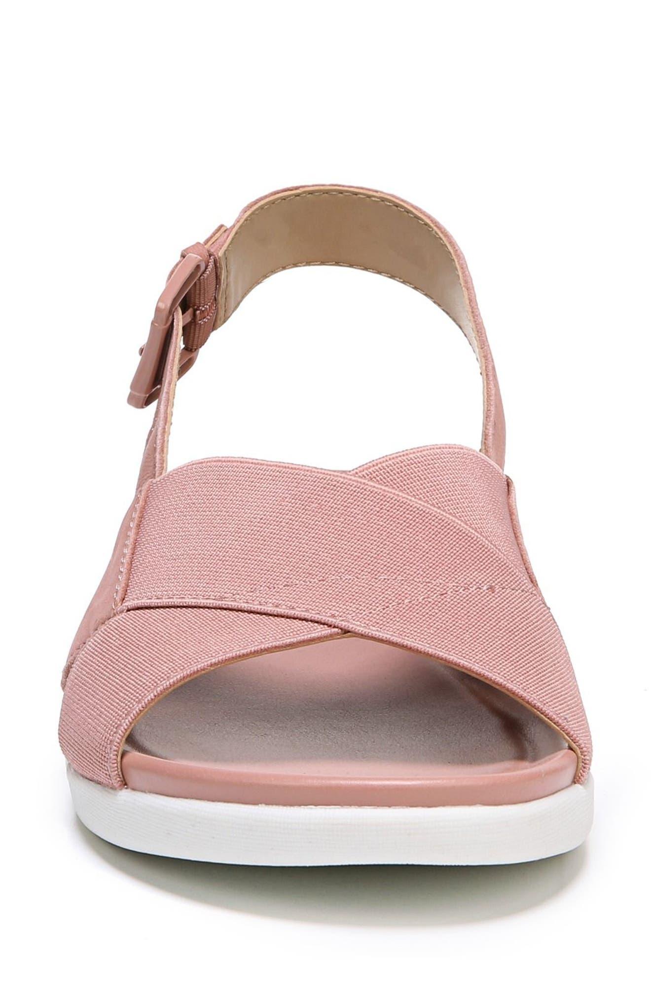 Eliza Wedge Sandal,                             Alternate thumbnail 4, color,                             Pink Nubuck Leather