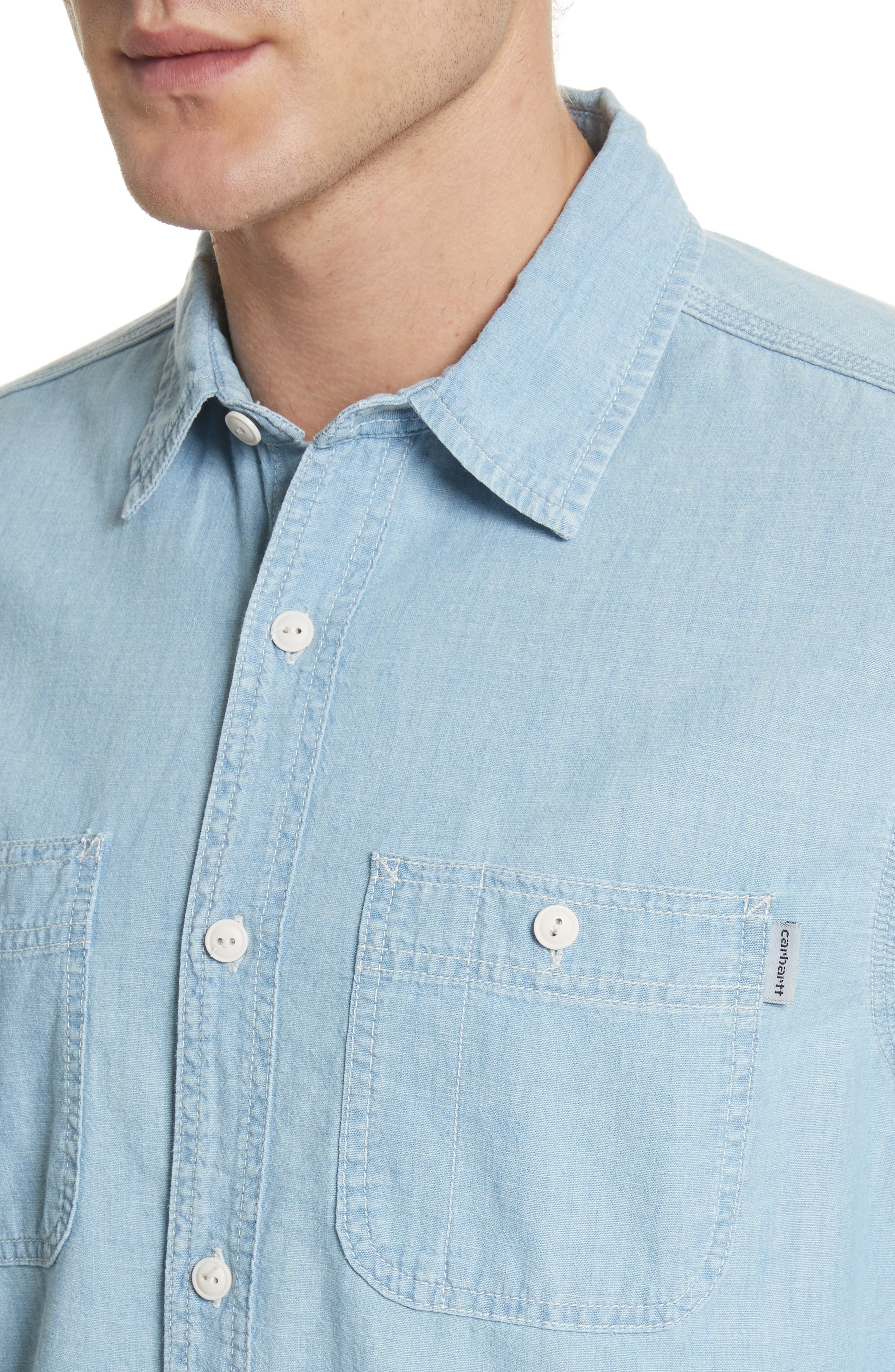 Clink Chambray Shirt,                             Alternate thumbnail 4, color,                             Blue Stone Washed