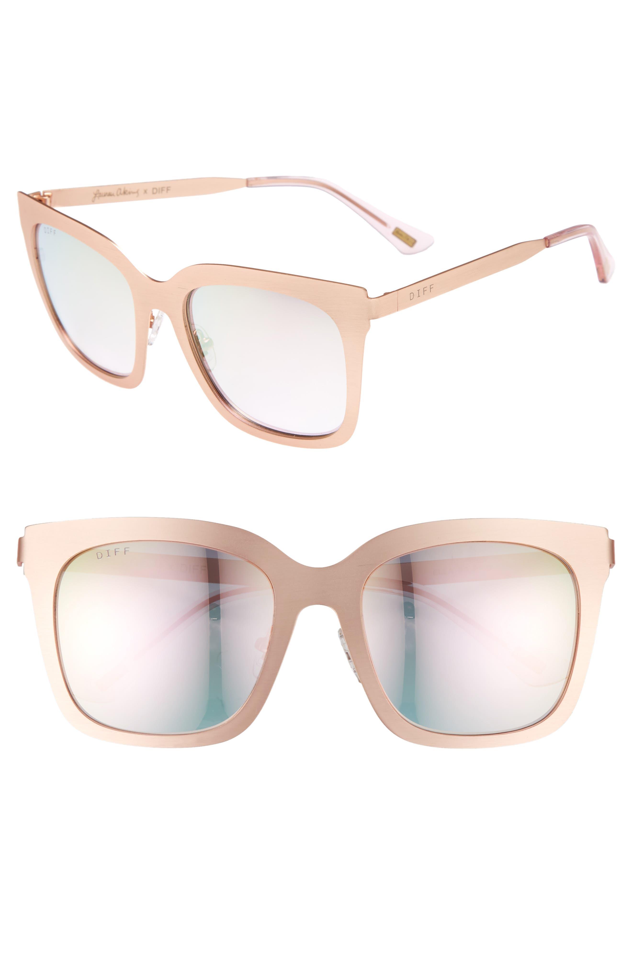 x Lauren Akins Ella 53mm Sunglasses,                             Main thumbnail 1, color,                             Rose Gold/ Pink