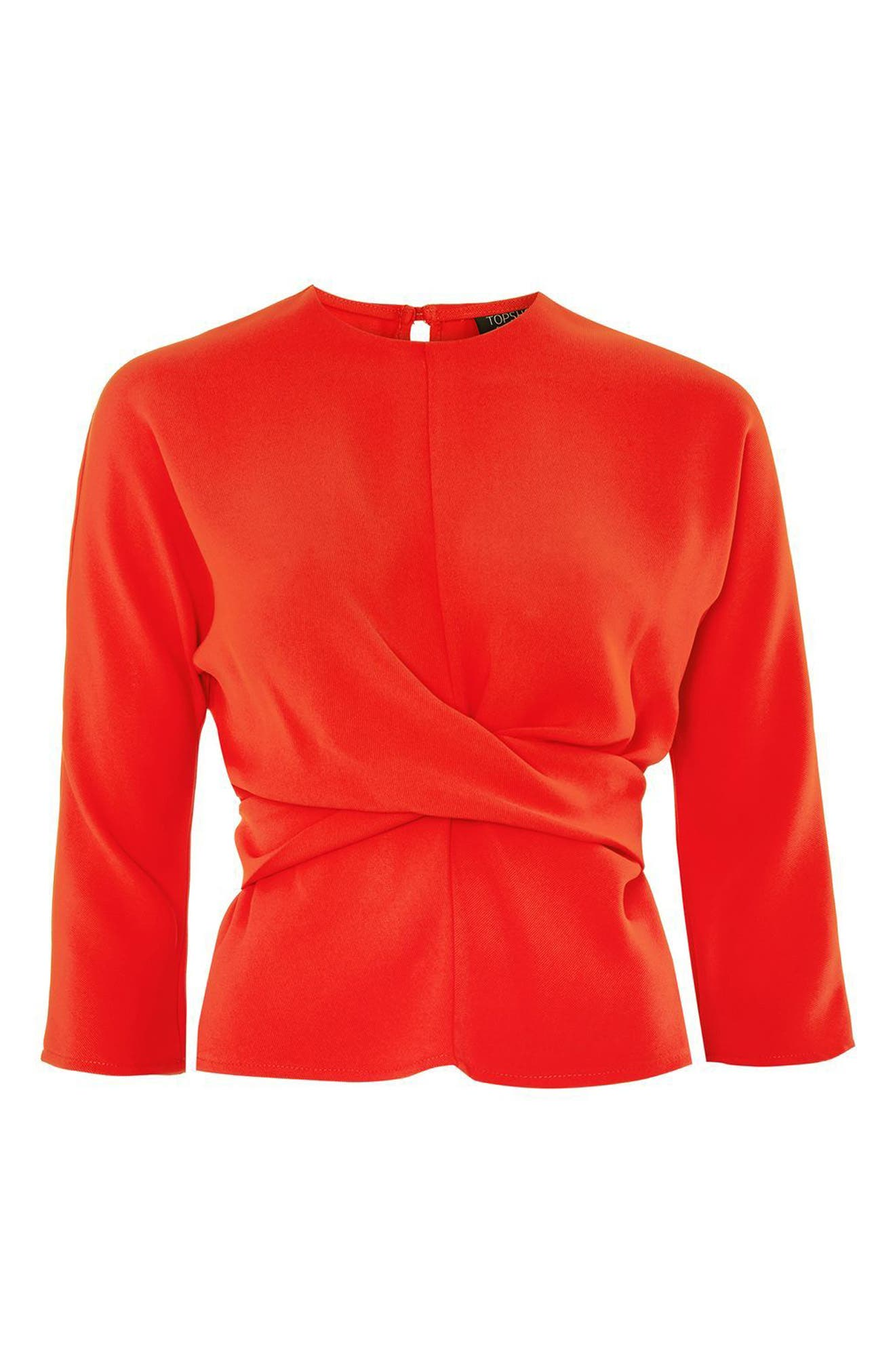 Wrap Waist Top,                             Alternate thumbnail 4, color,                             Red