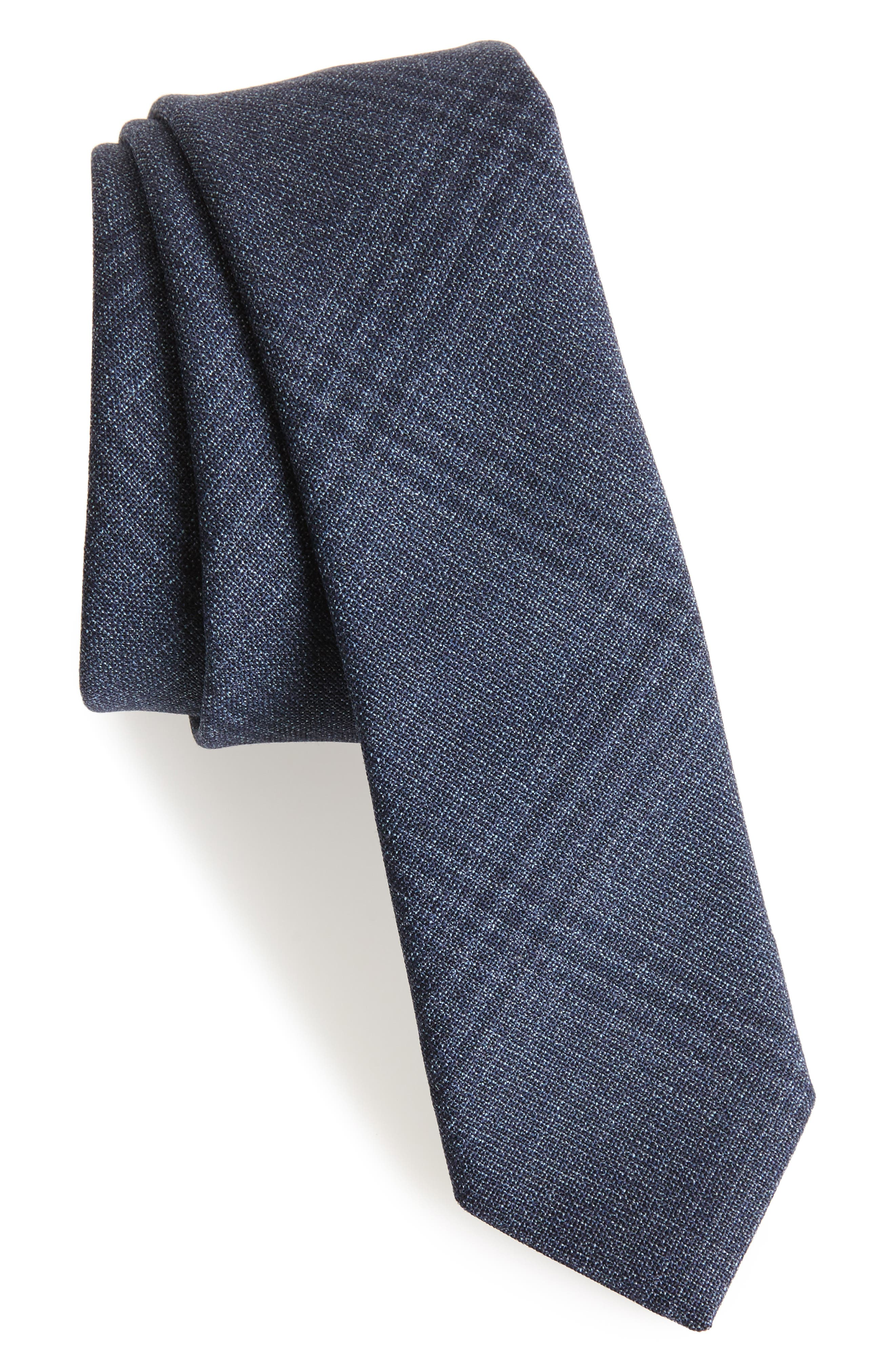 Plaid Wool Tie,                             Main thumbnail 1, color,                             Grey