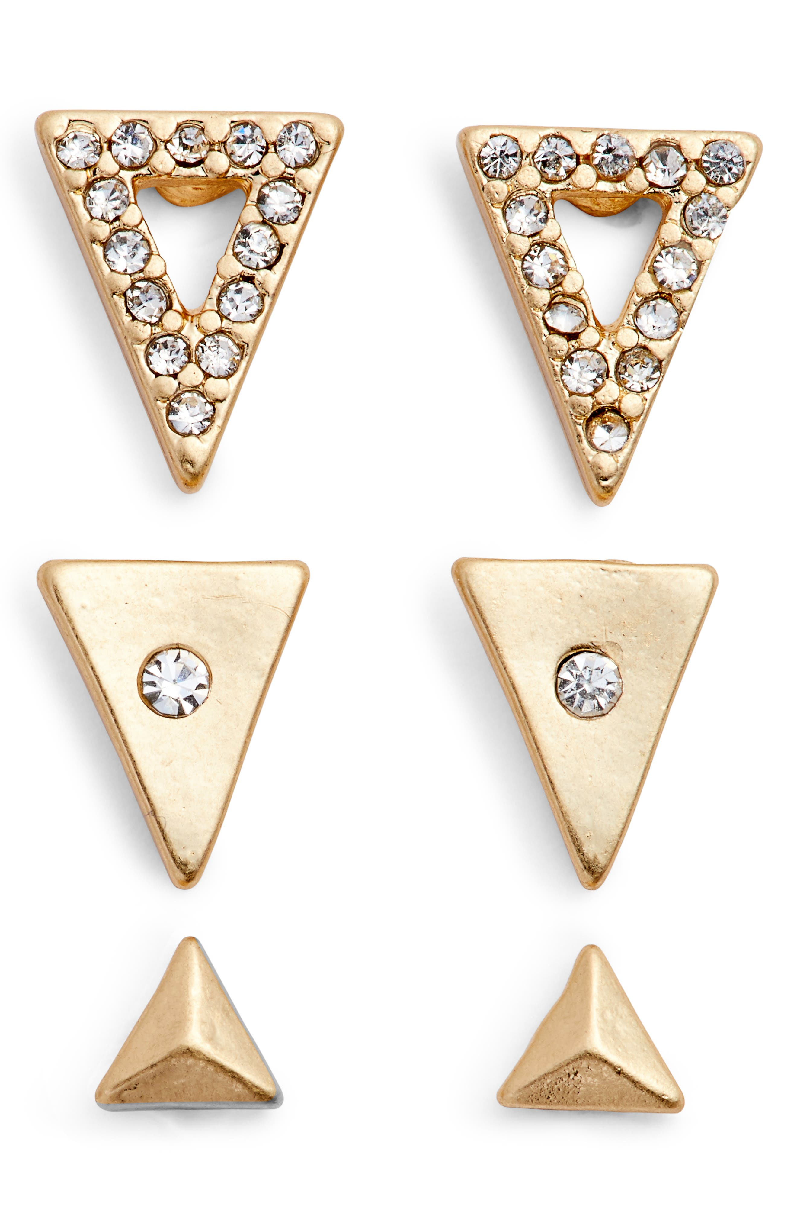 Set of 3 Triangle Stud Earrings,                             Main thumbnail 1, color,                             Clear- Gold