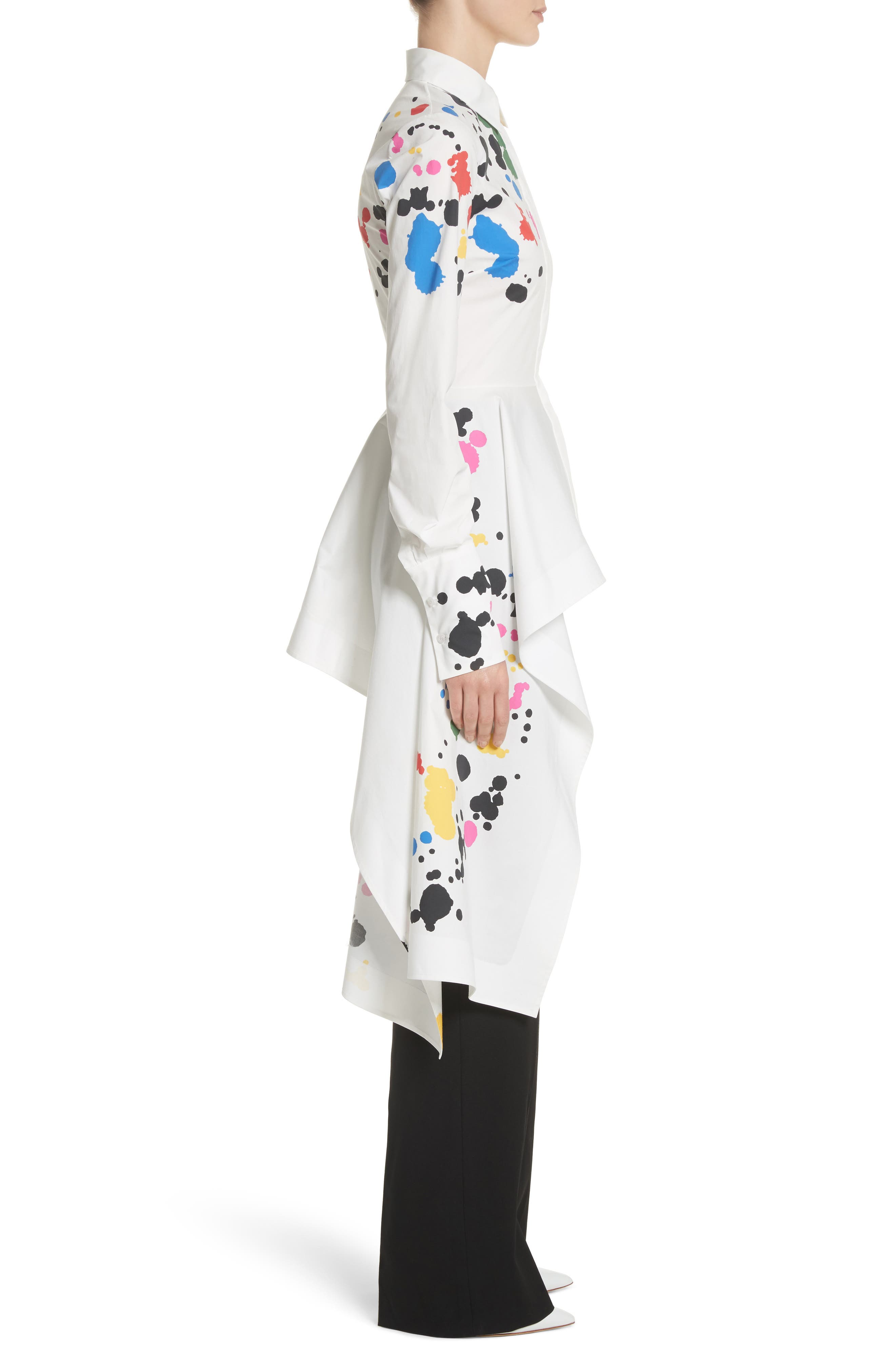 Paint Splatter Asymmetrical Poplin Shirt,                             Alternate thumbnail 3, color,                             White Multi