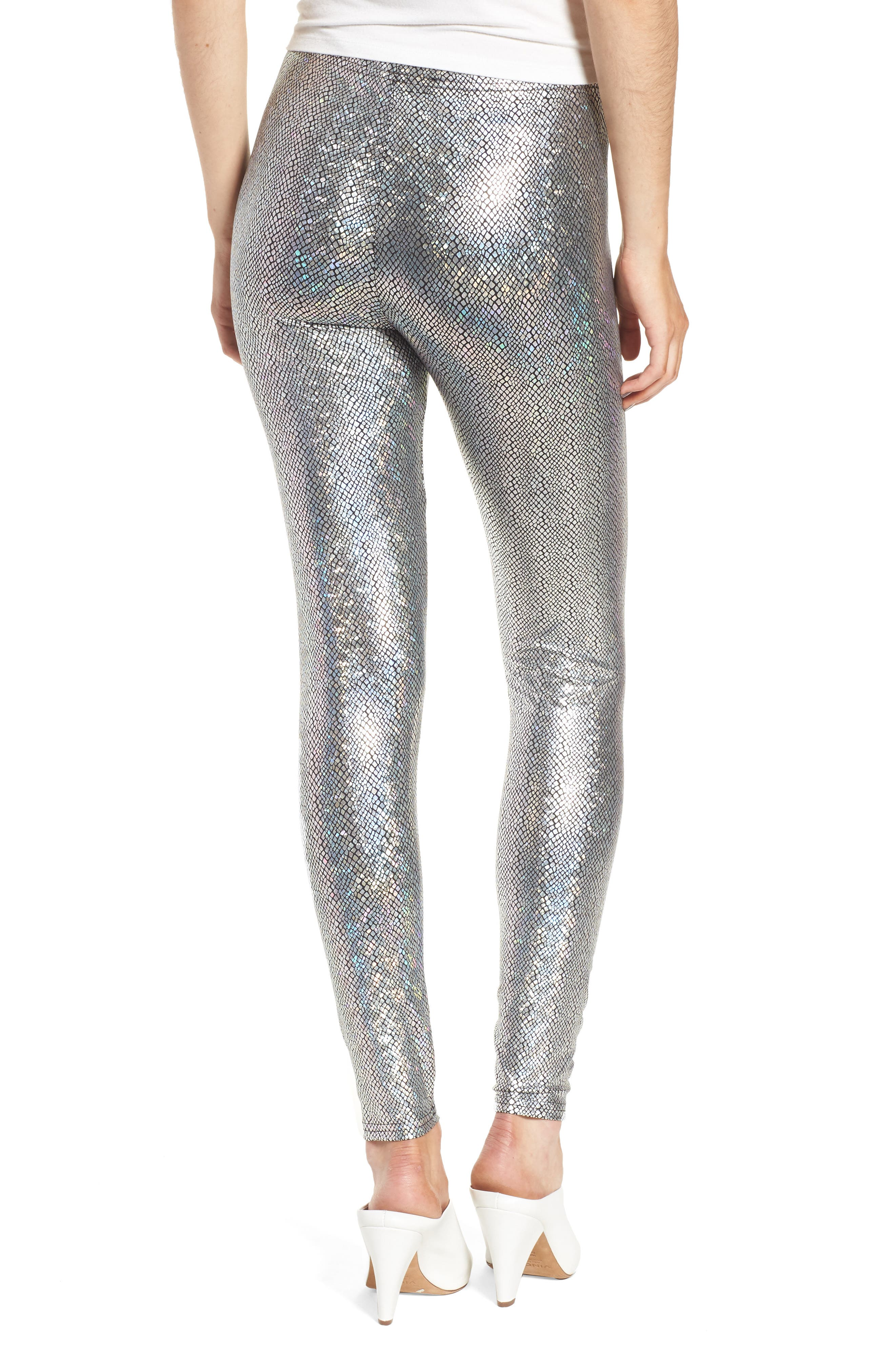 Metallic Foil Snake Print Leggings,                             Alternate thumbnail 2, color,                             Silver