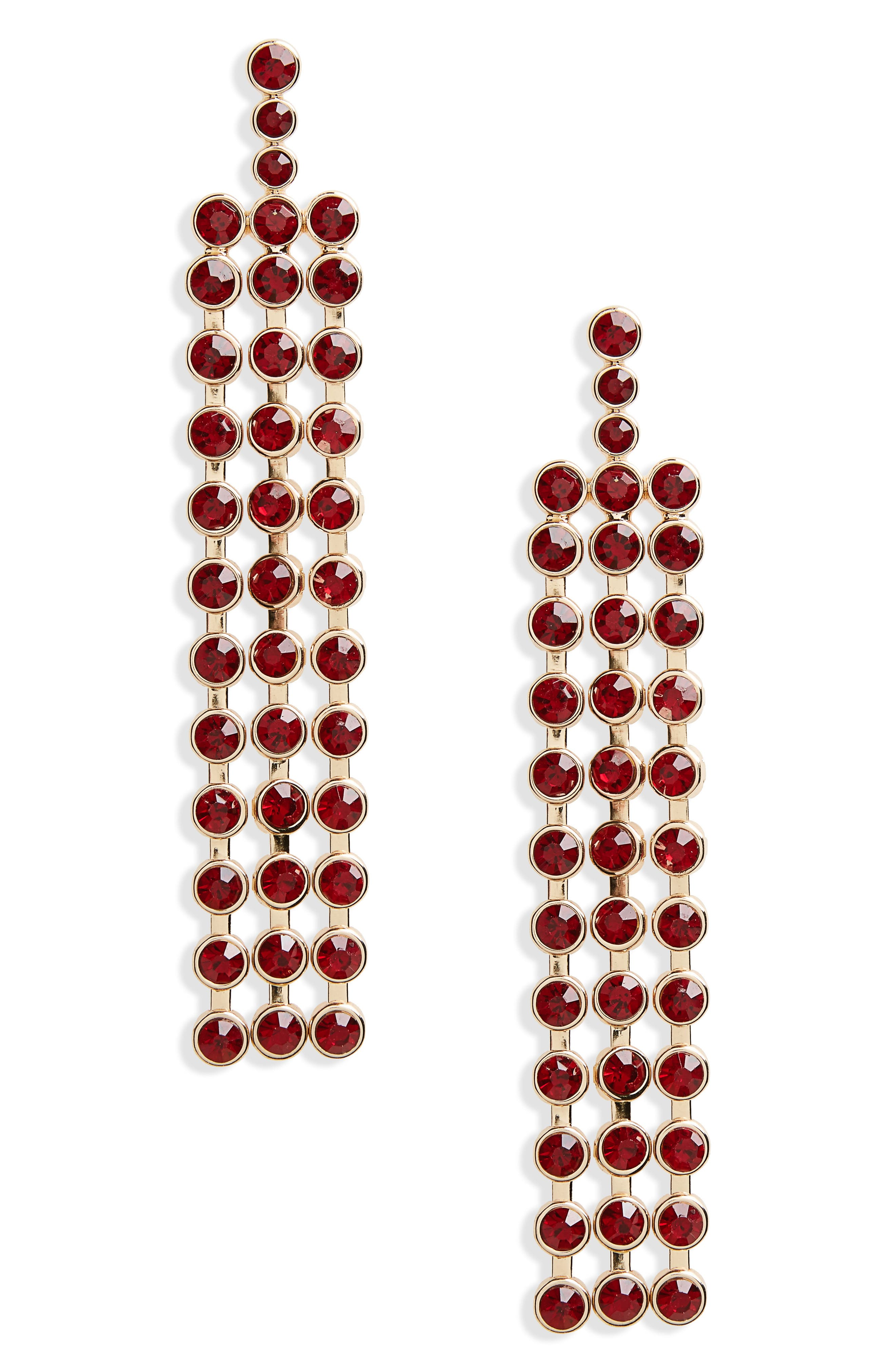 Stone Fringe Drop Earrings,                         Main,                         color, Gold/ Wine