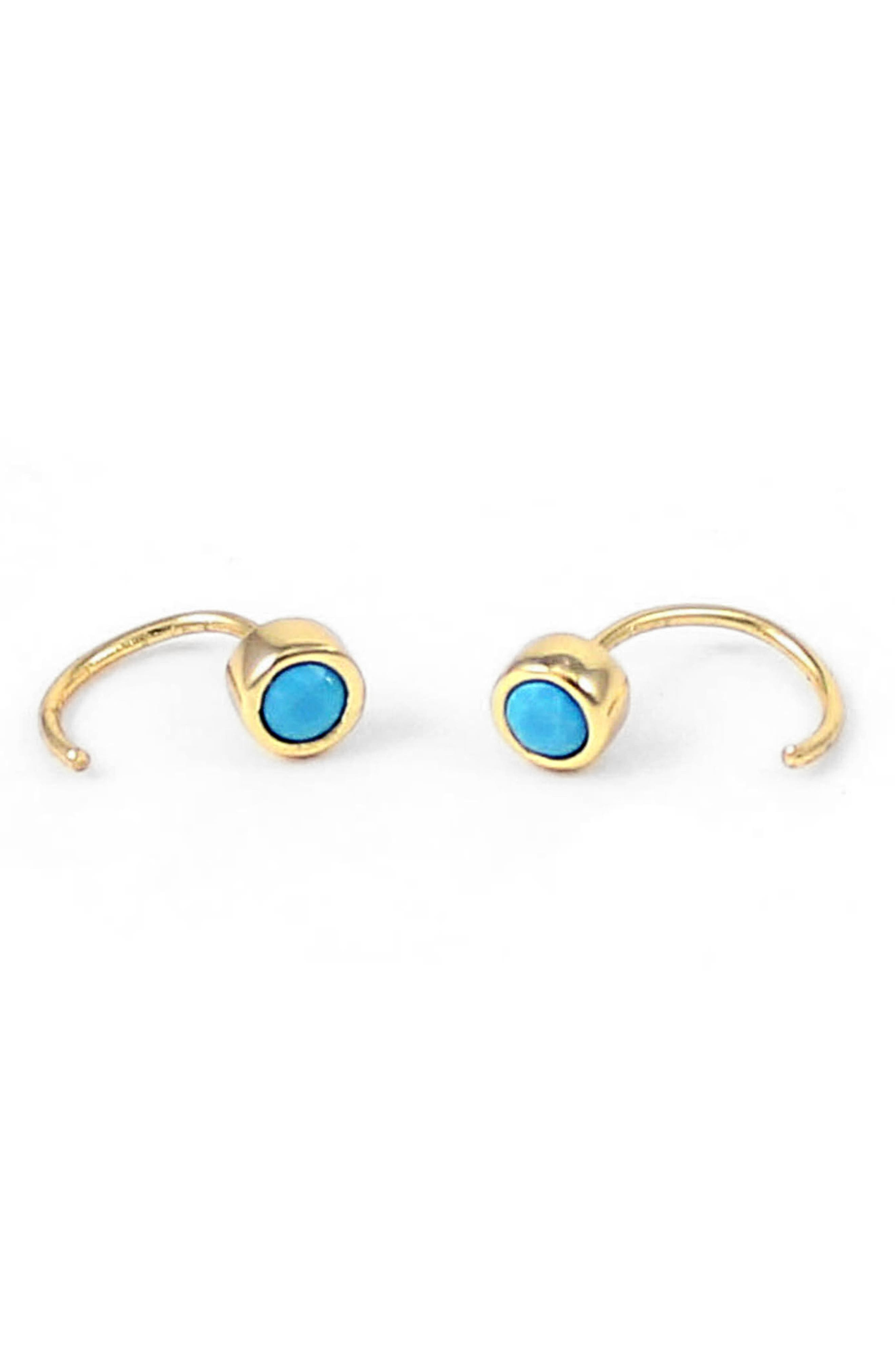 Main Image - Kris Nations Tiny Stone Hoop Earrings