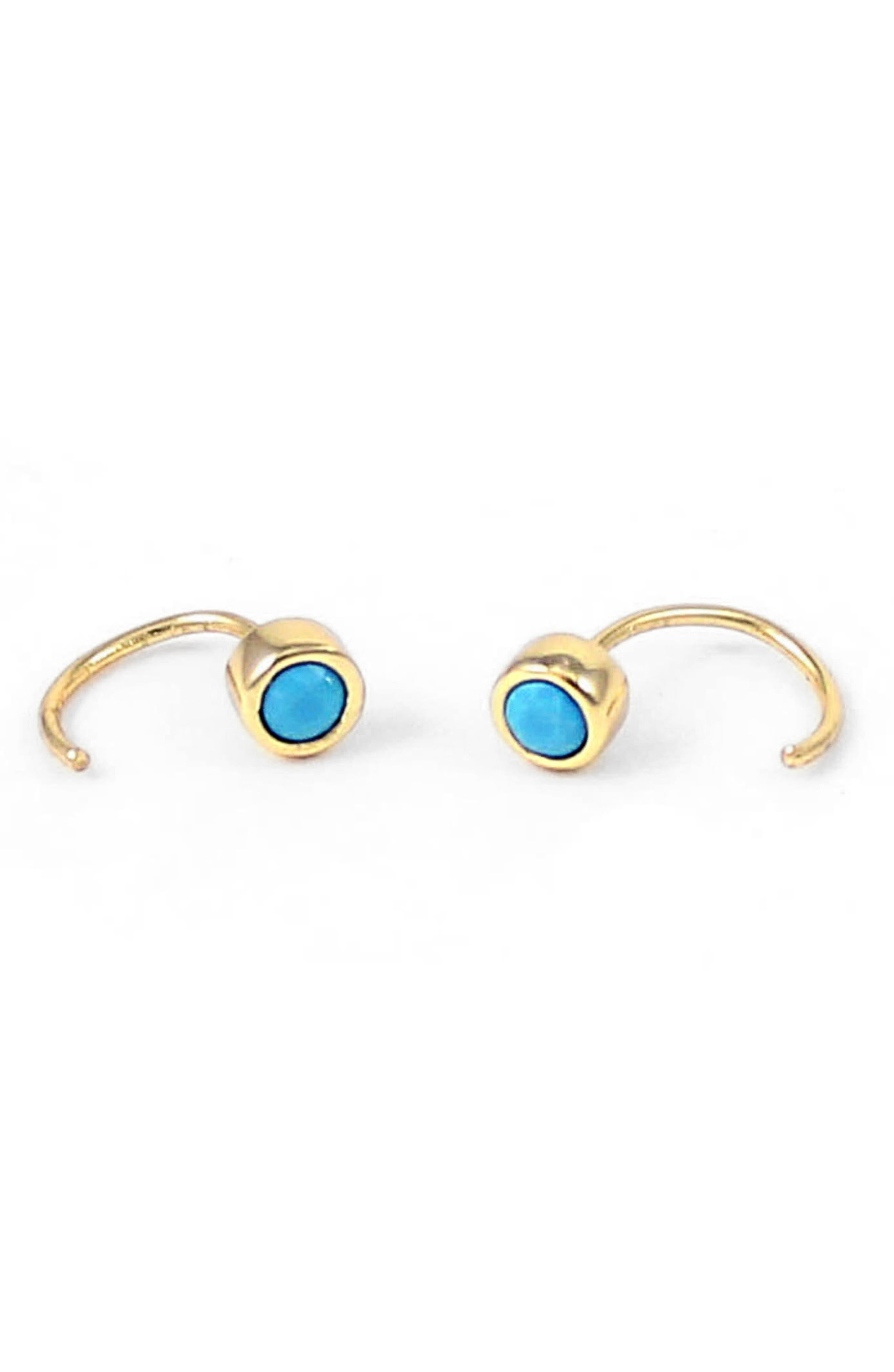 Kris Nations Tiny Stone Hoop Earrings