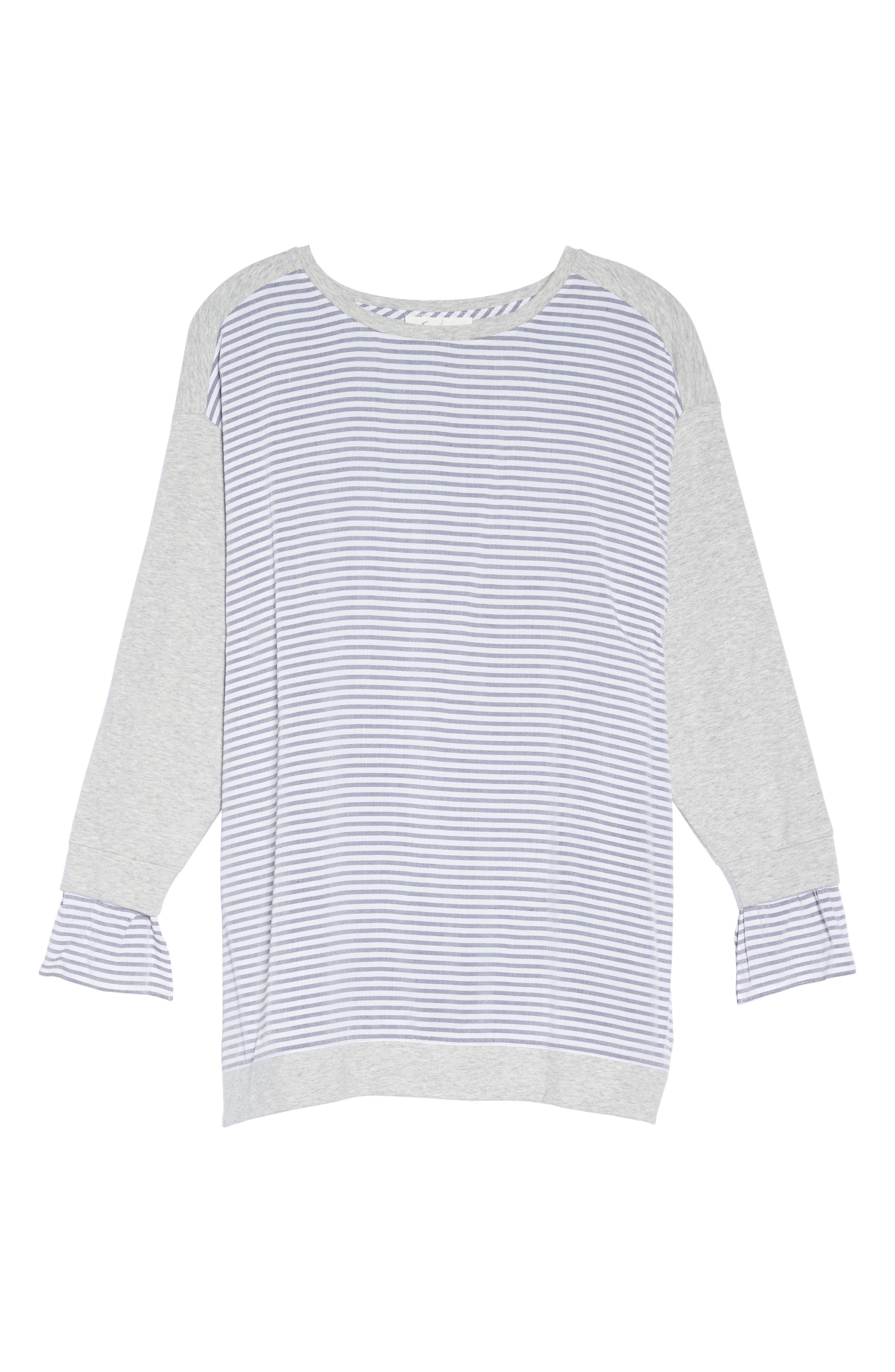 Mixed Media Sweatshirt,                             Alternate thumbnail 6, color,                             Grey Heather