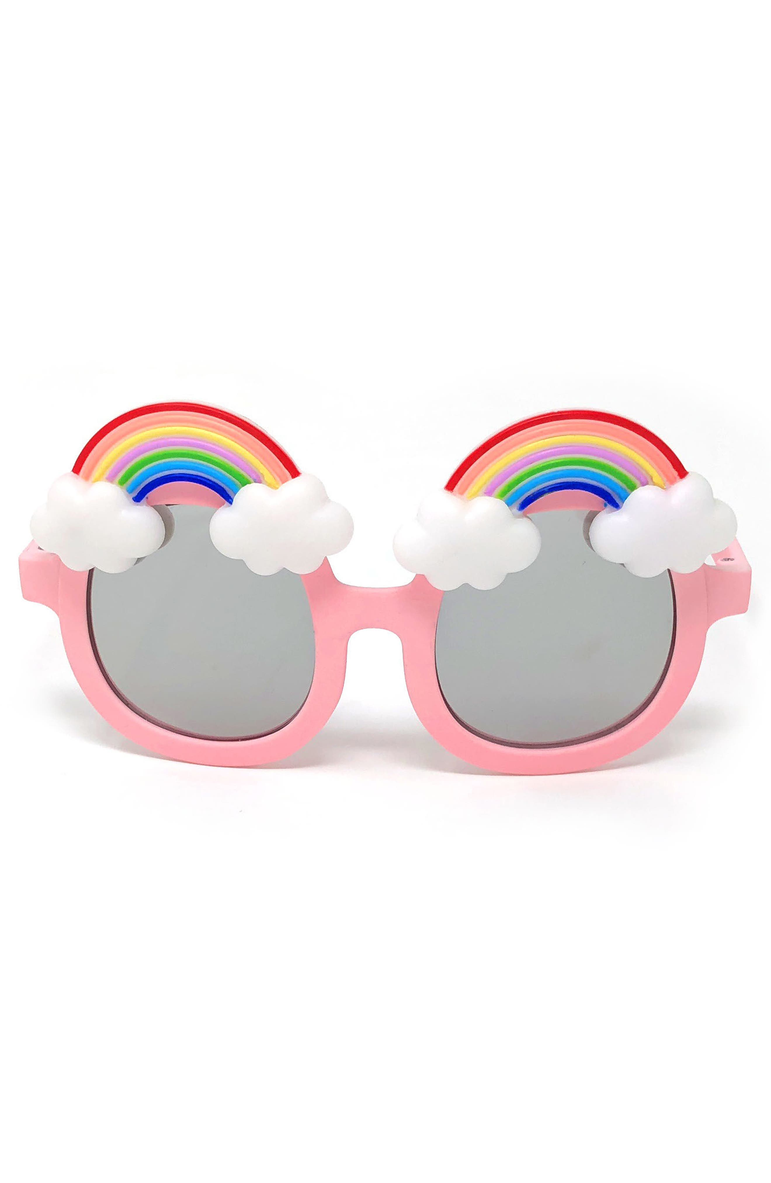 Large Round Rainbow Sunglasses,                             Main thumbnail 1, color,                             Pink/ Rainbow