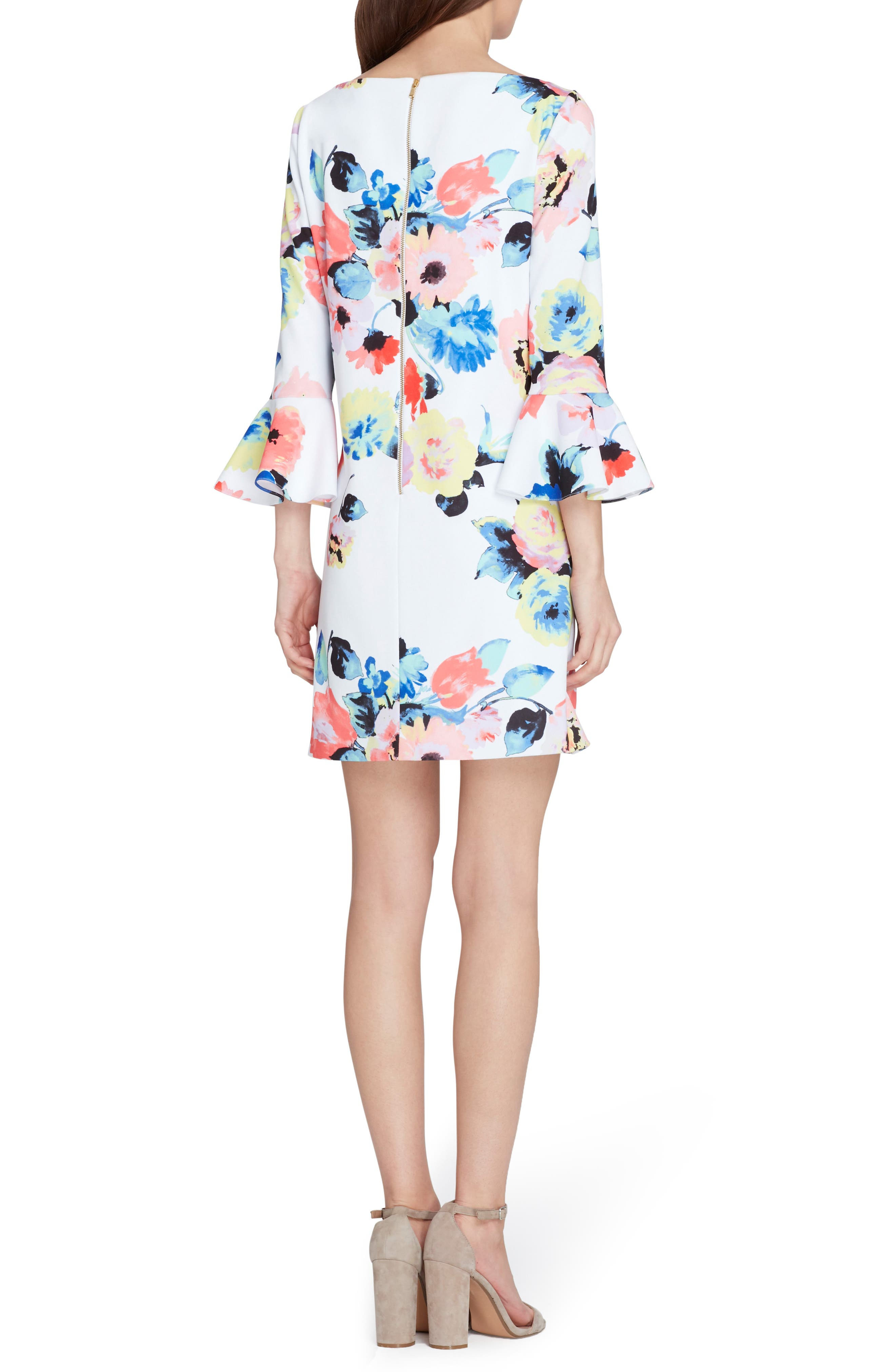 Floral Bell Sleeve Shift Dress,                             Alternate thumbnail 2, color,                             Ivory/ Coral/ Lilac