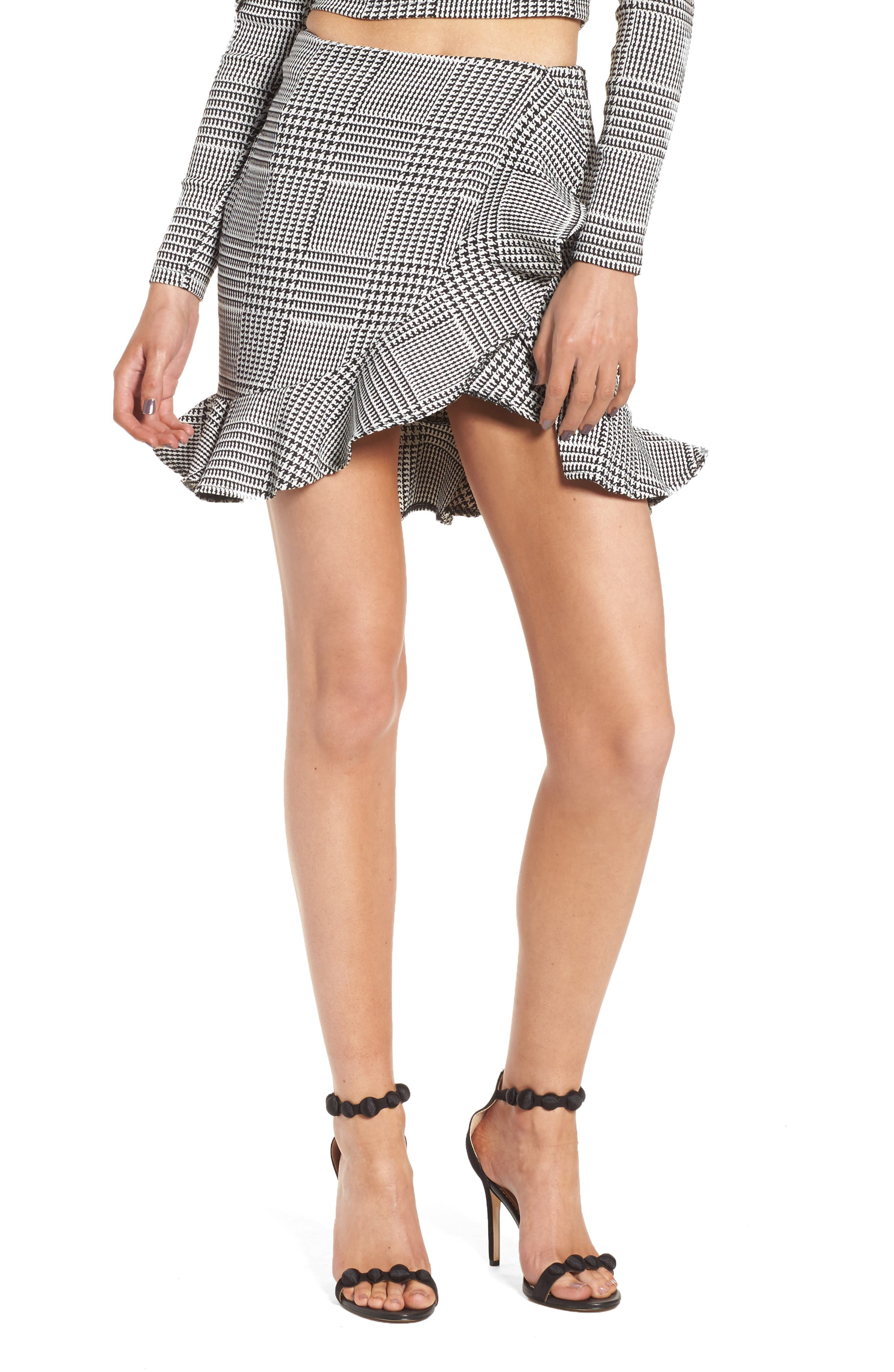 Affection Ruffle Houndstooth Skirt,                             Main thumbnail 1, color,                             Houndstooth Plaid
