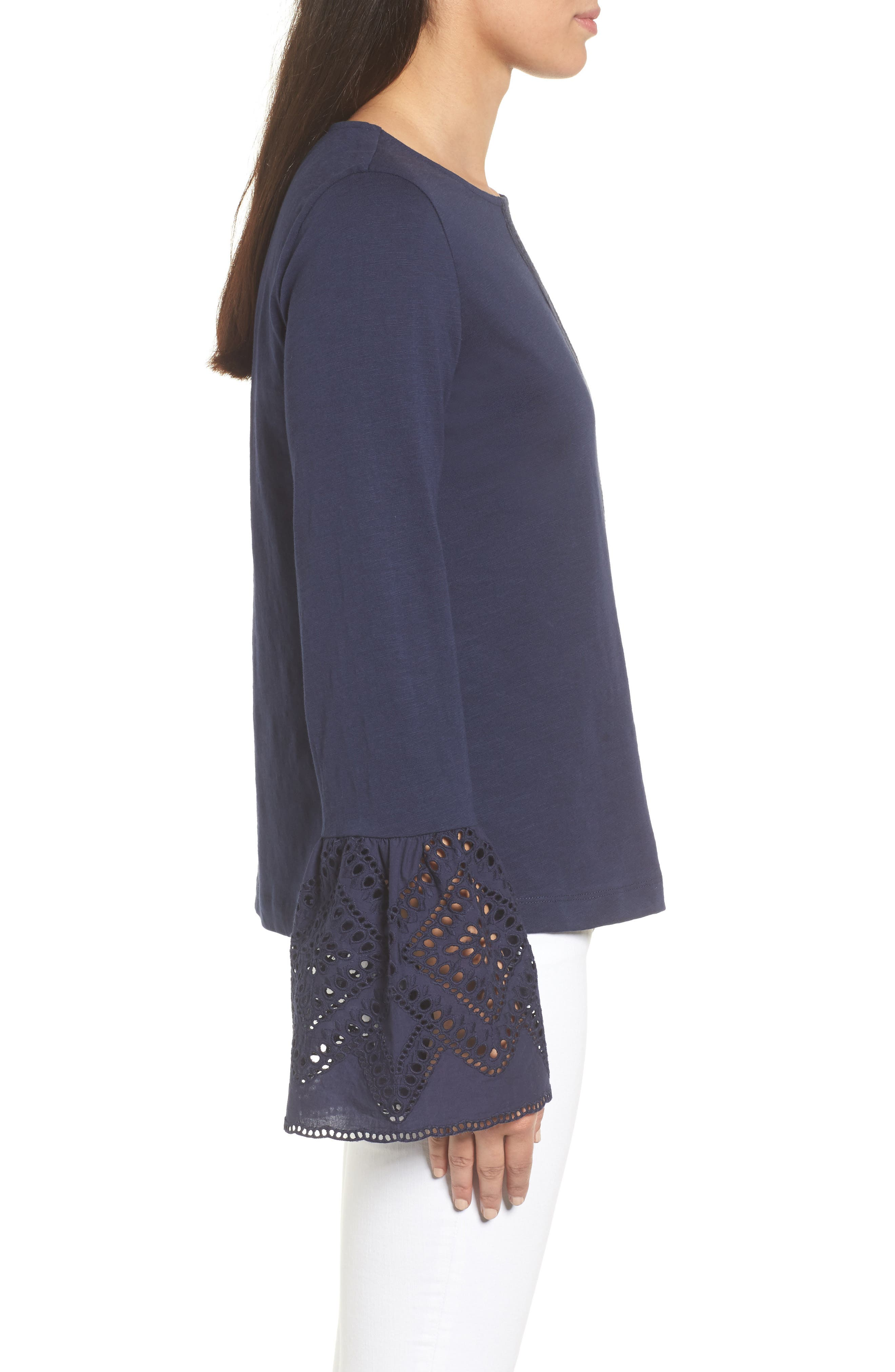Eyelet Bell Sleeve Top,                             Alternate thumbnail 3, color,                             Navy Peacoat