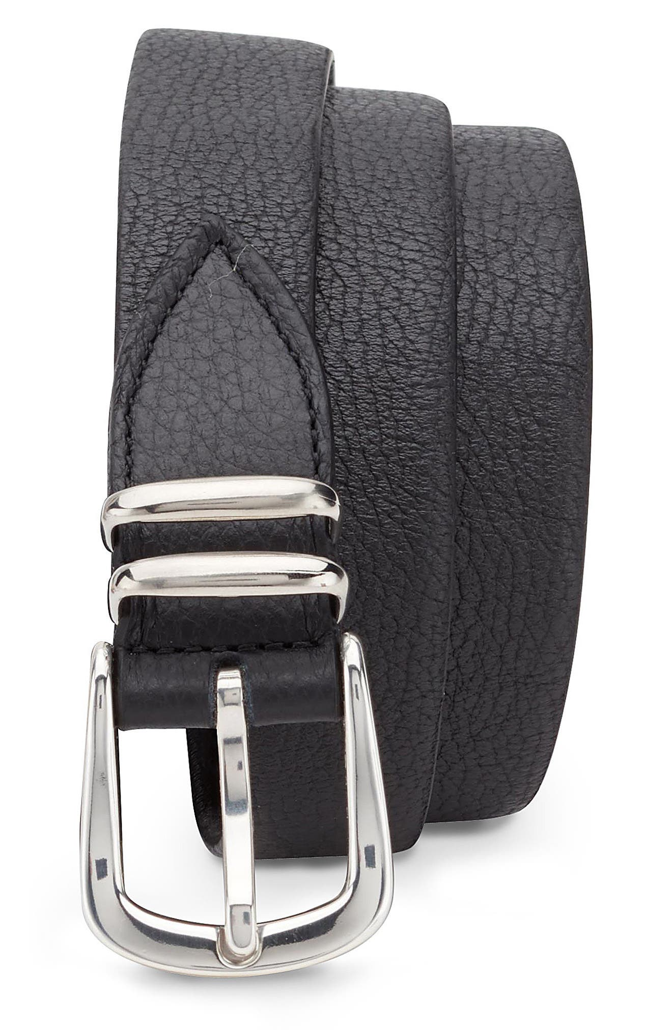 Stretch Leather Belt,                             Main thumbnail 1, color,                             Brown