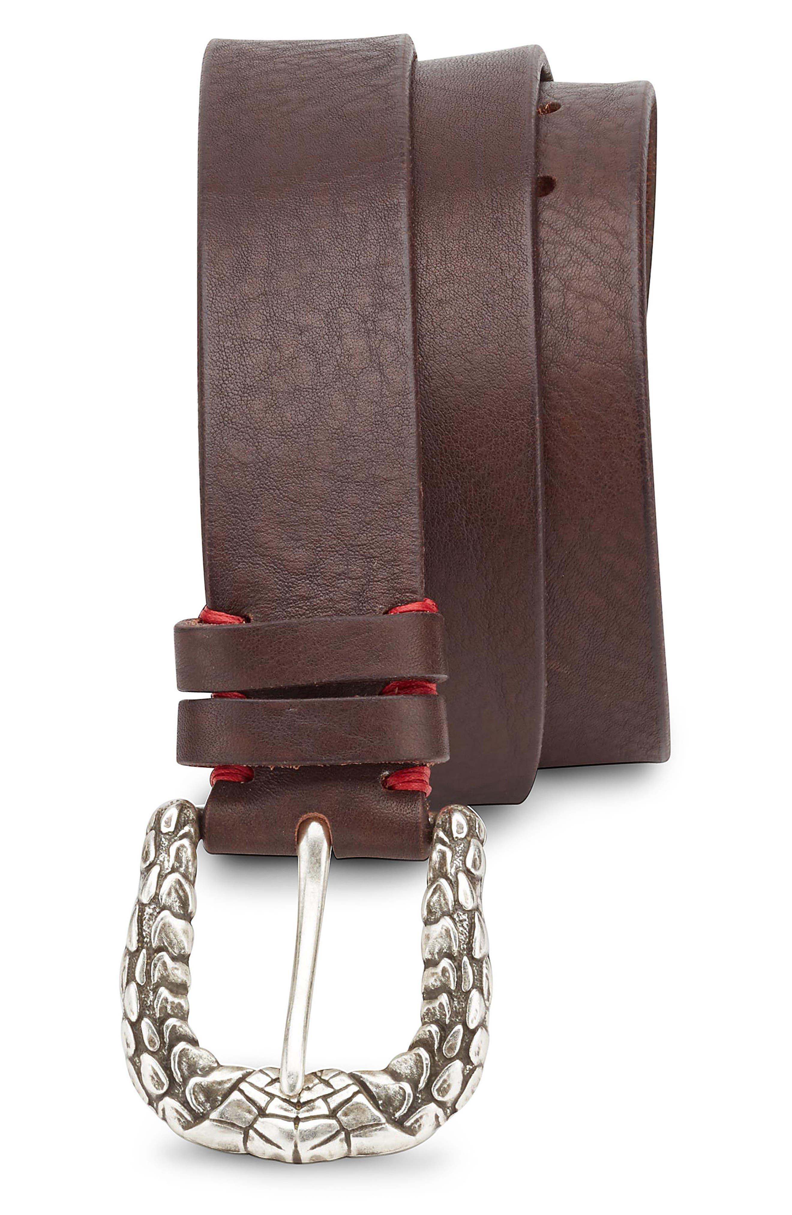 Snakeskin Buckle Leather Belt,                             Main thumbnail 1, color,                             Black