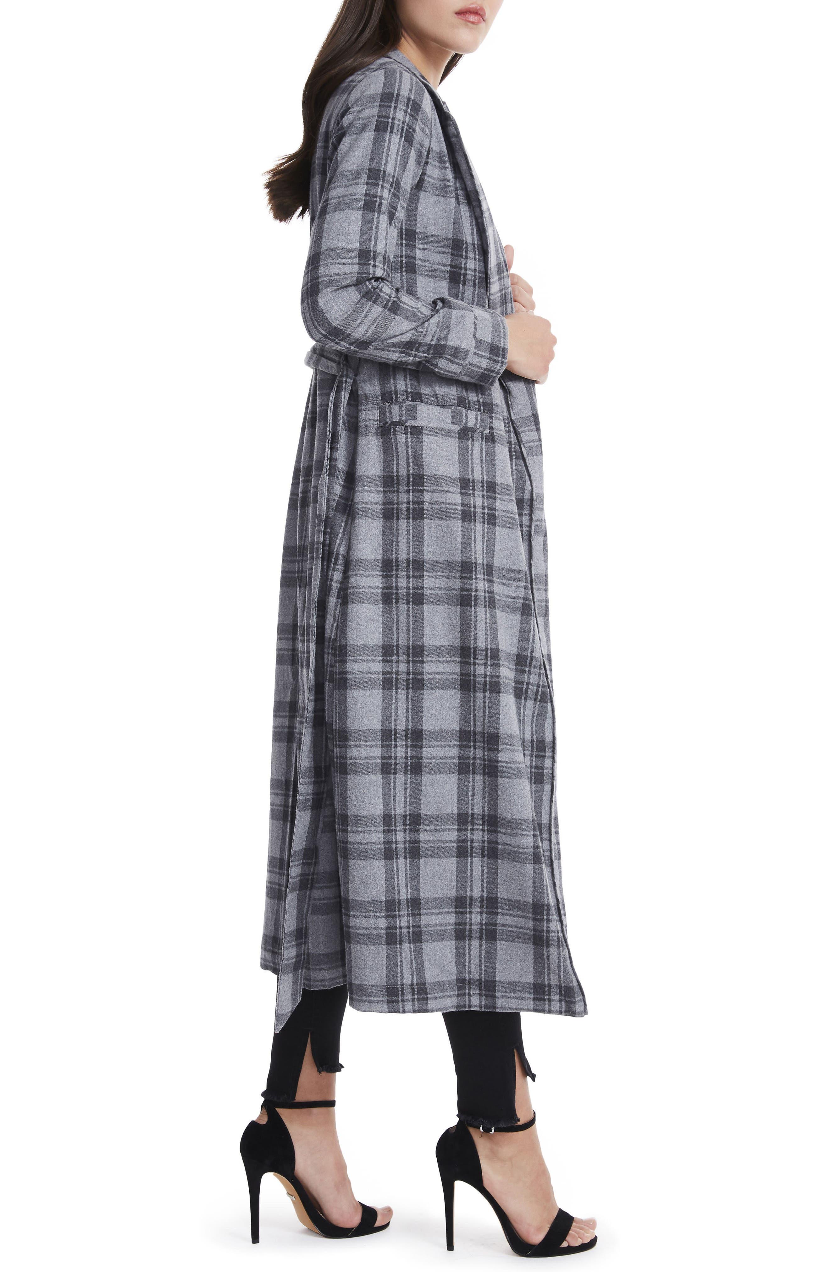 Sol Flannel Wrap Coat,                             Alternate thumbnail 3, color,                             Grey Plaid