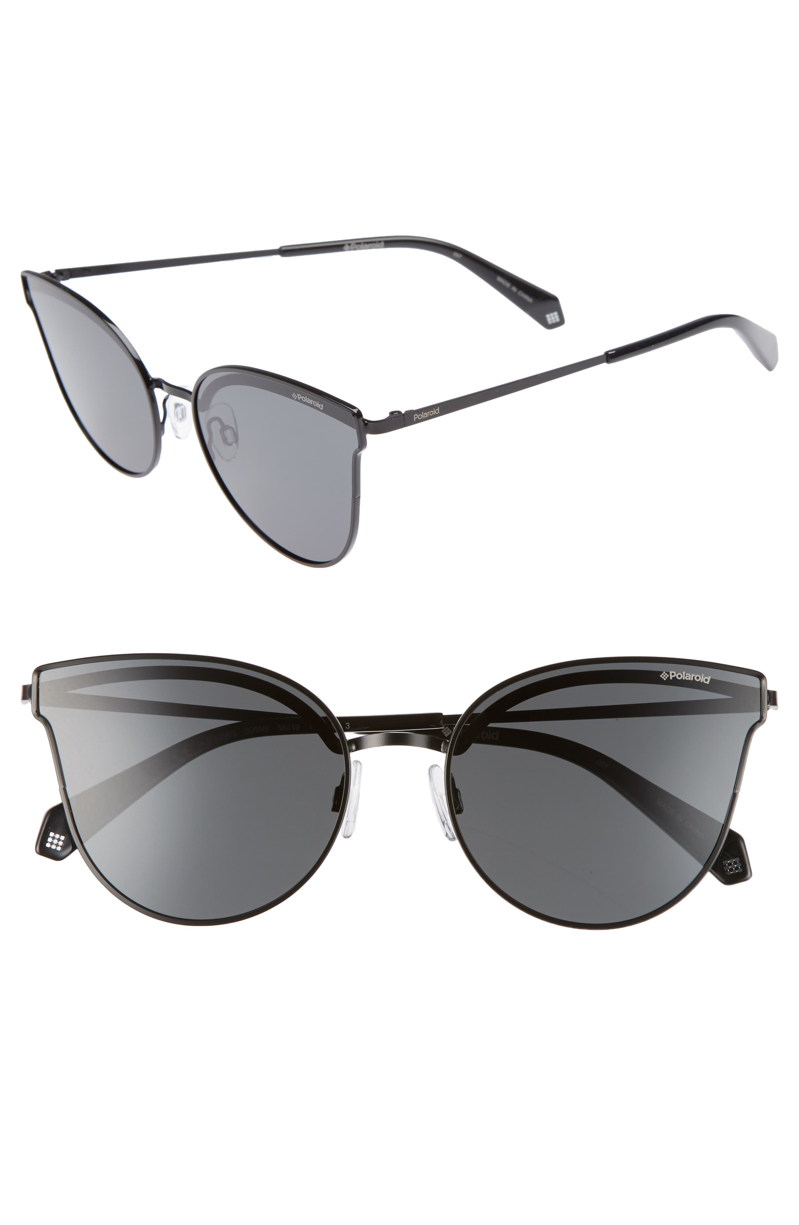 58mm Polarized Butterfly Sunglasses,                         Main,                         color, Black