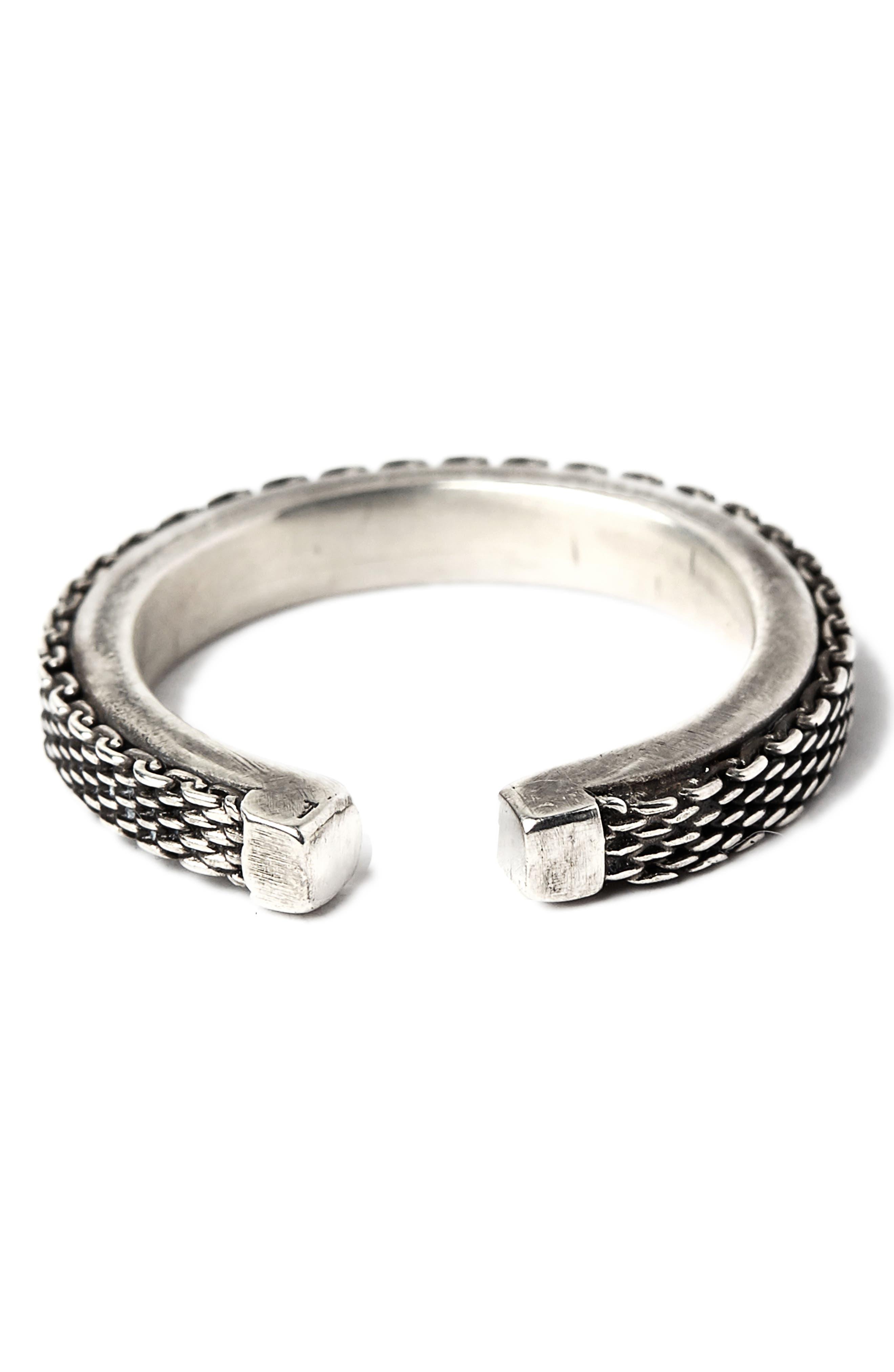 Adjustable Micro Mesh Ring,                             Main thumbnail 1, color,                             Silver