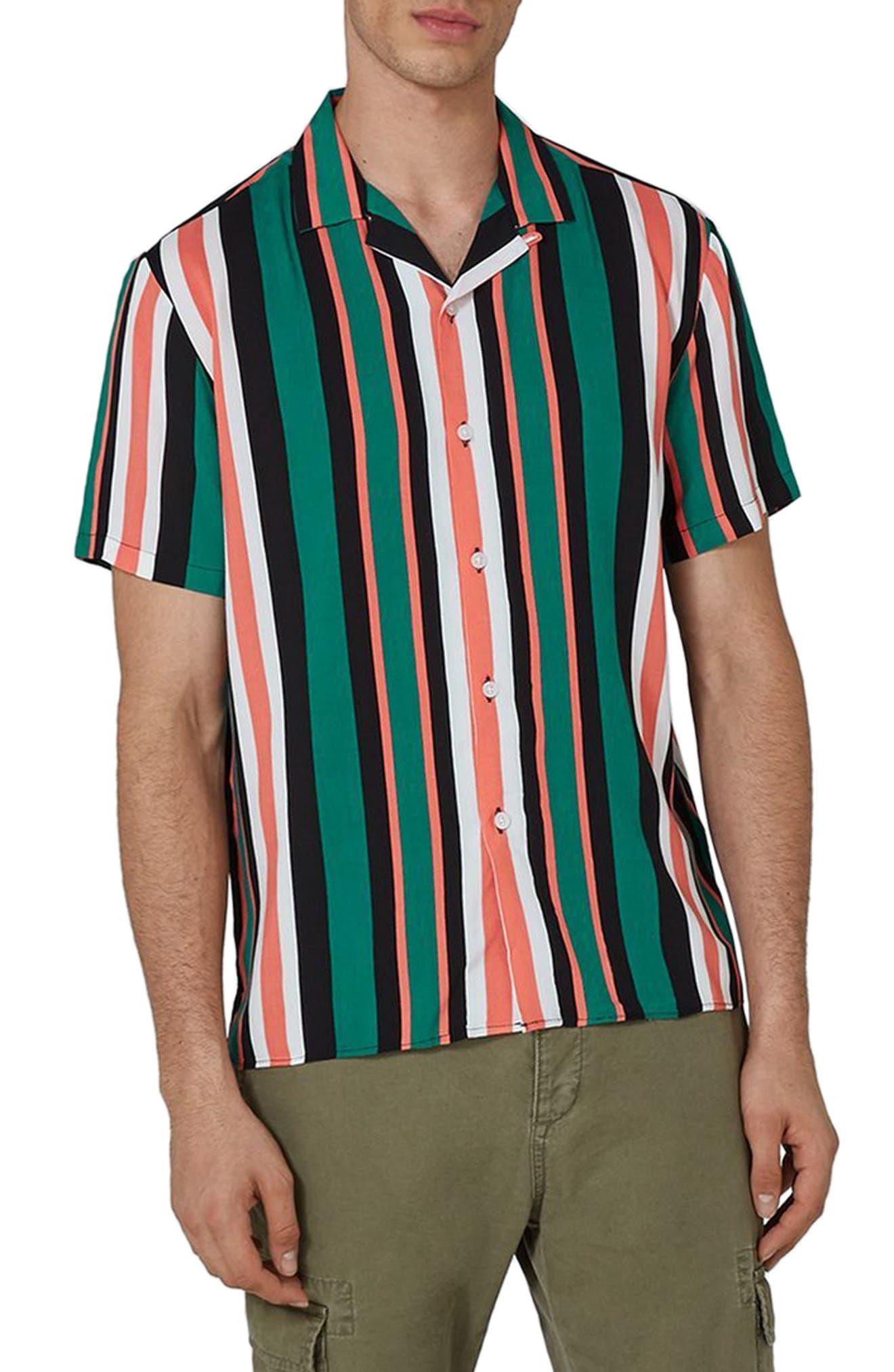 Main Image - Topman Miami Stripe Revere Collar Shirt