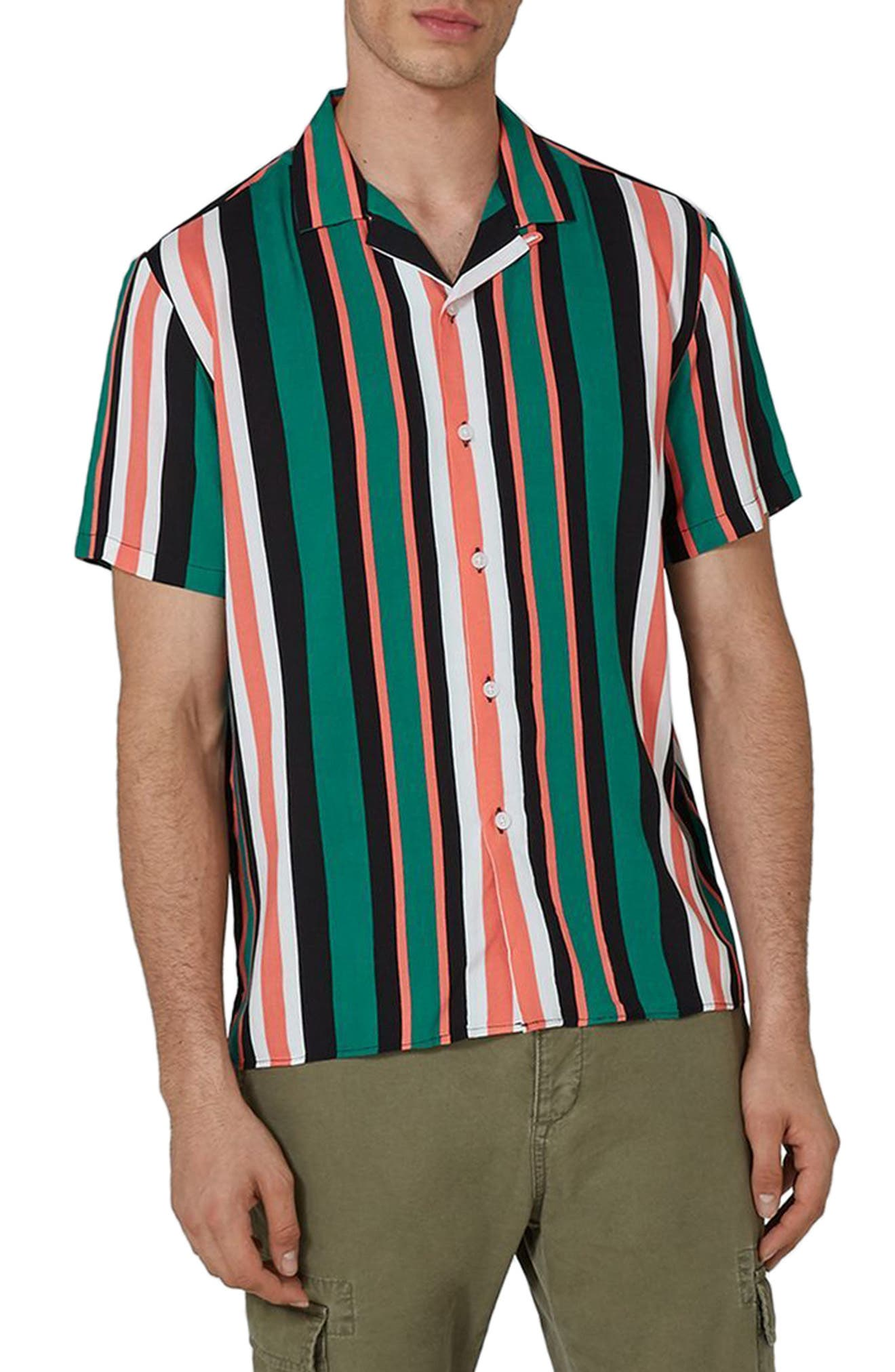 Topman Miami Stripe Revere Collar Shirt