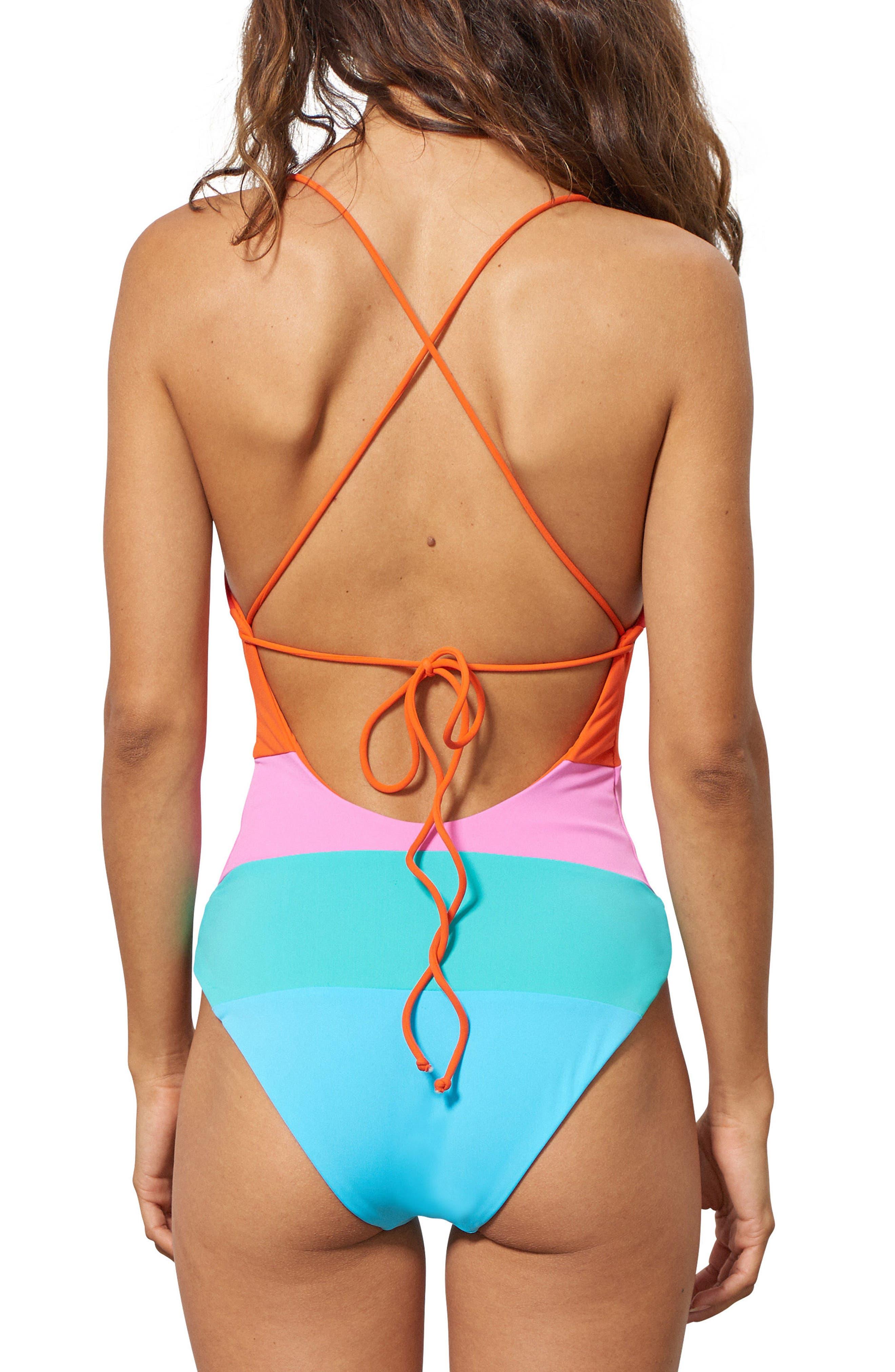 Olympia One-Piece Swimsuit,                             Alternate thumbnail 2, color,                             Orange Multi