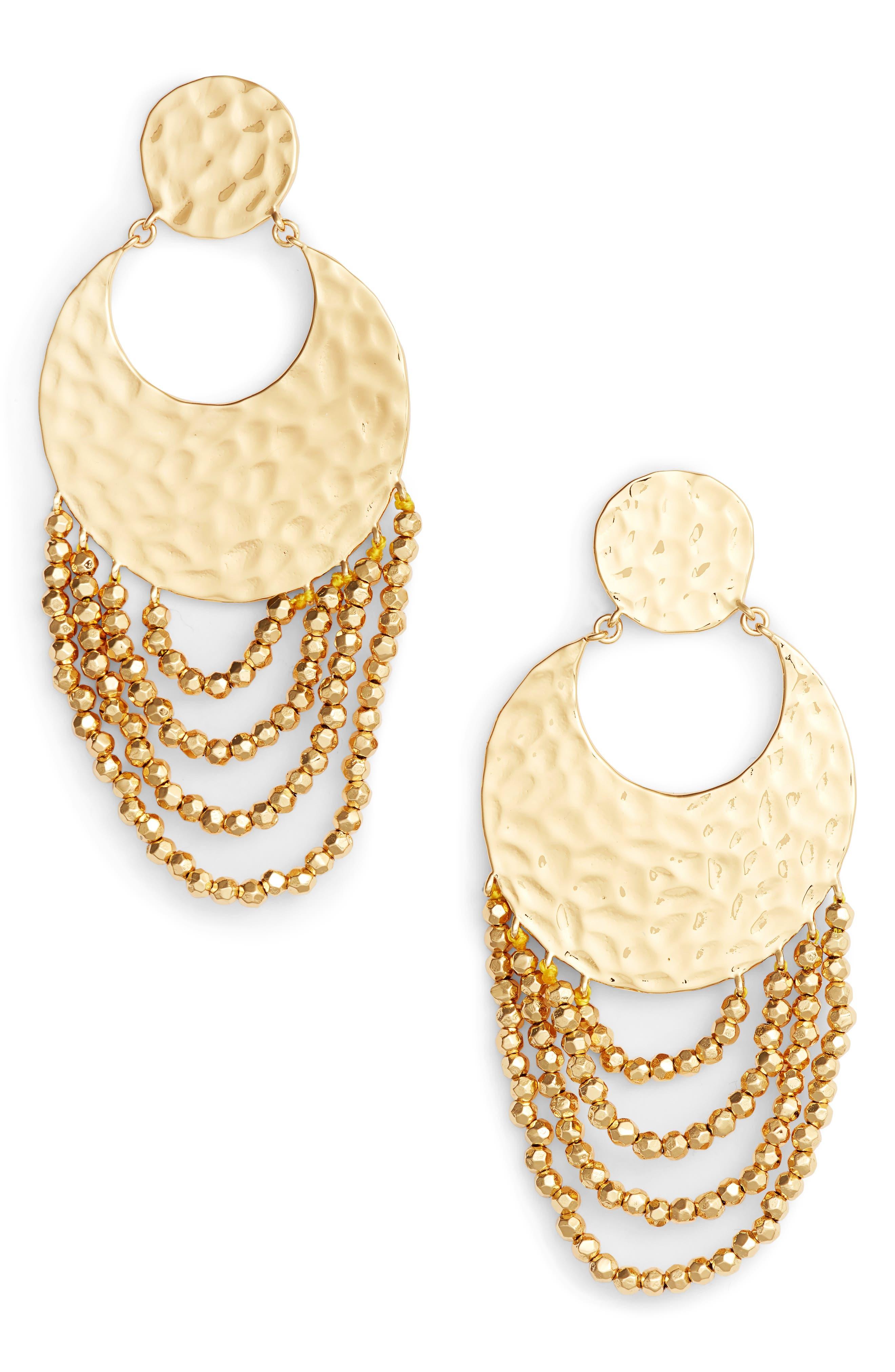 Azure Drop Earrings,                         Main,                         color, Gold