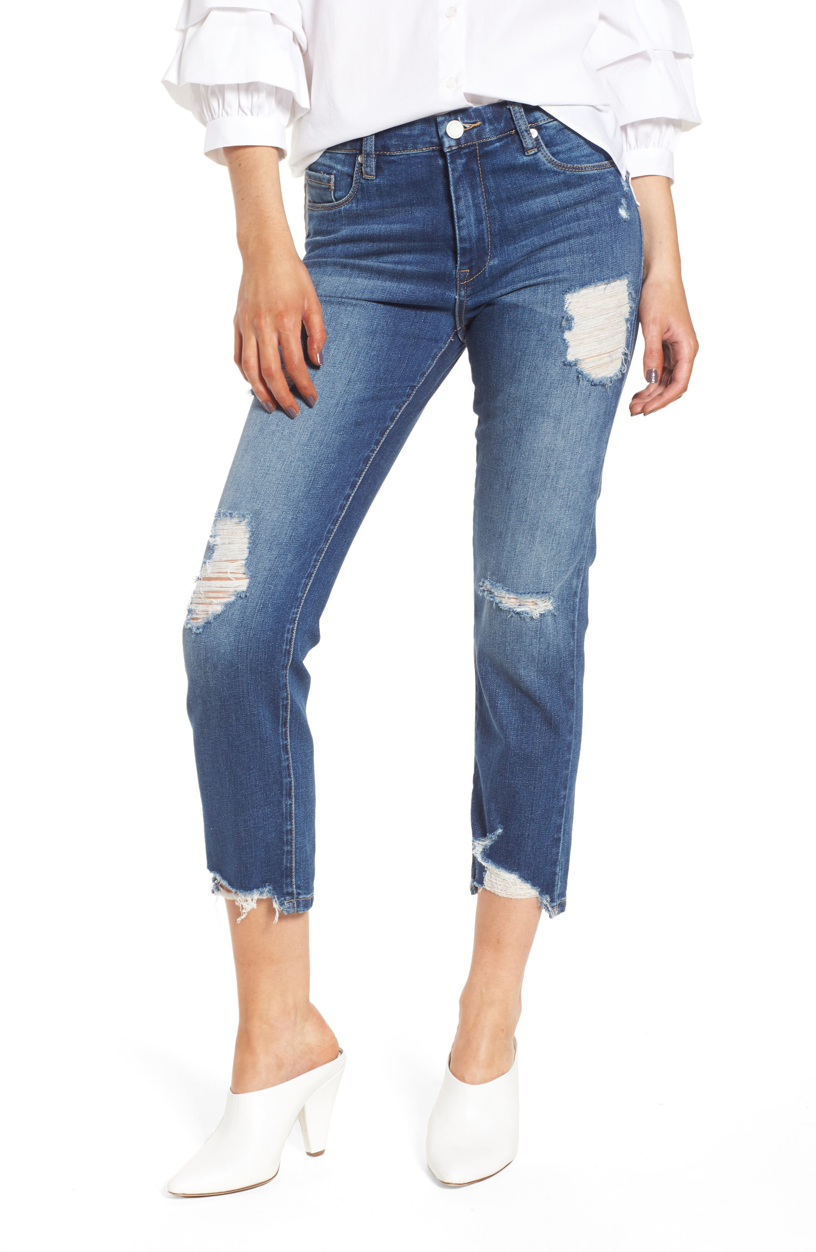 Your Favorite Distressed Straight Jeans,                             Main thumbnail 1, color,                             Blame Game
