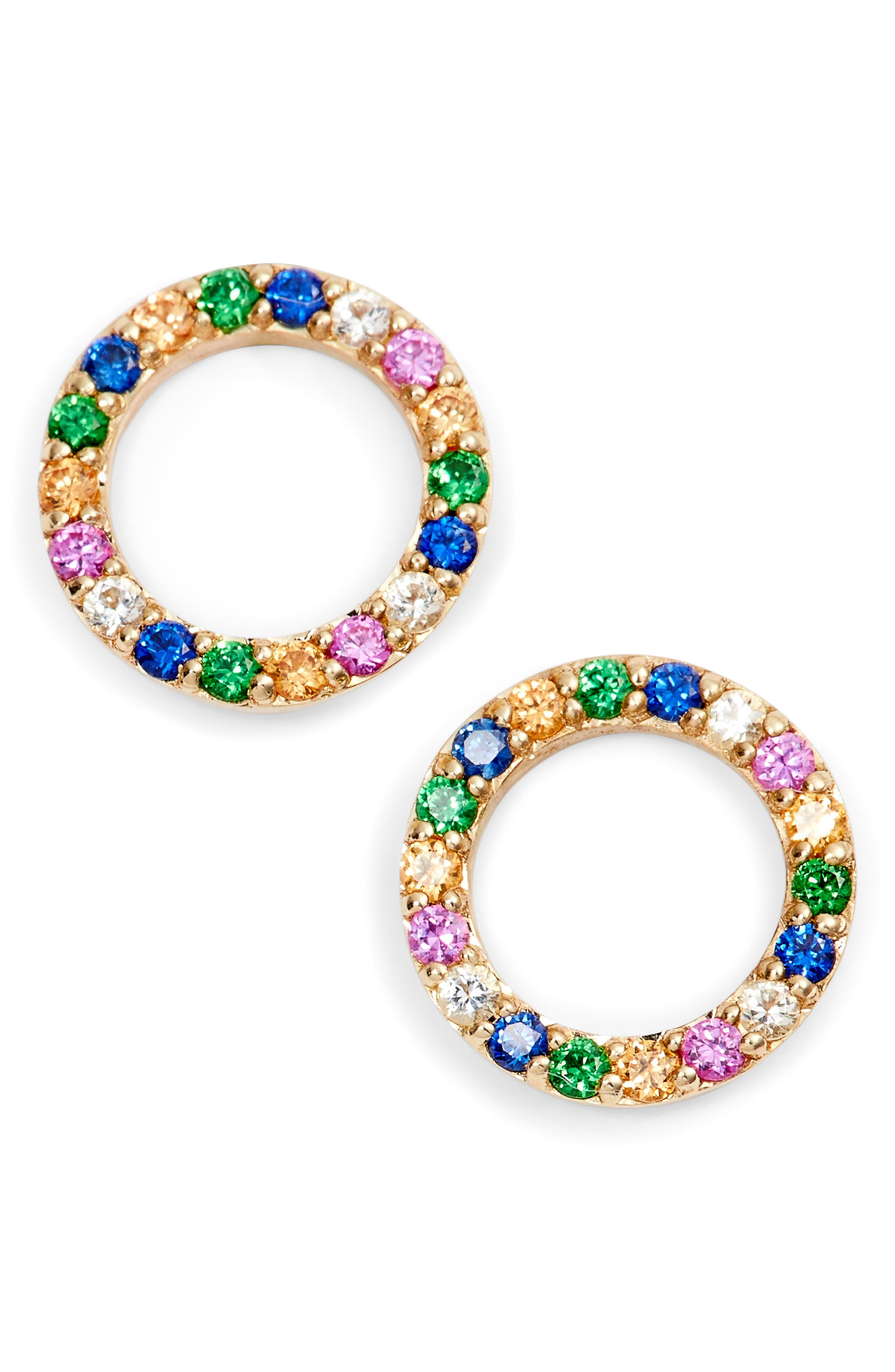 Mini Circle Sapphire Stud Earrings,                             Main thumbnail 1, color,                             Yellow Gold