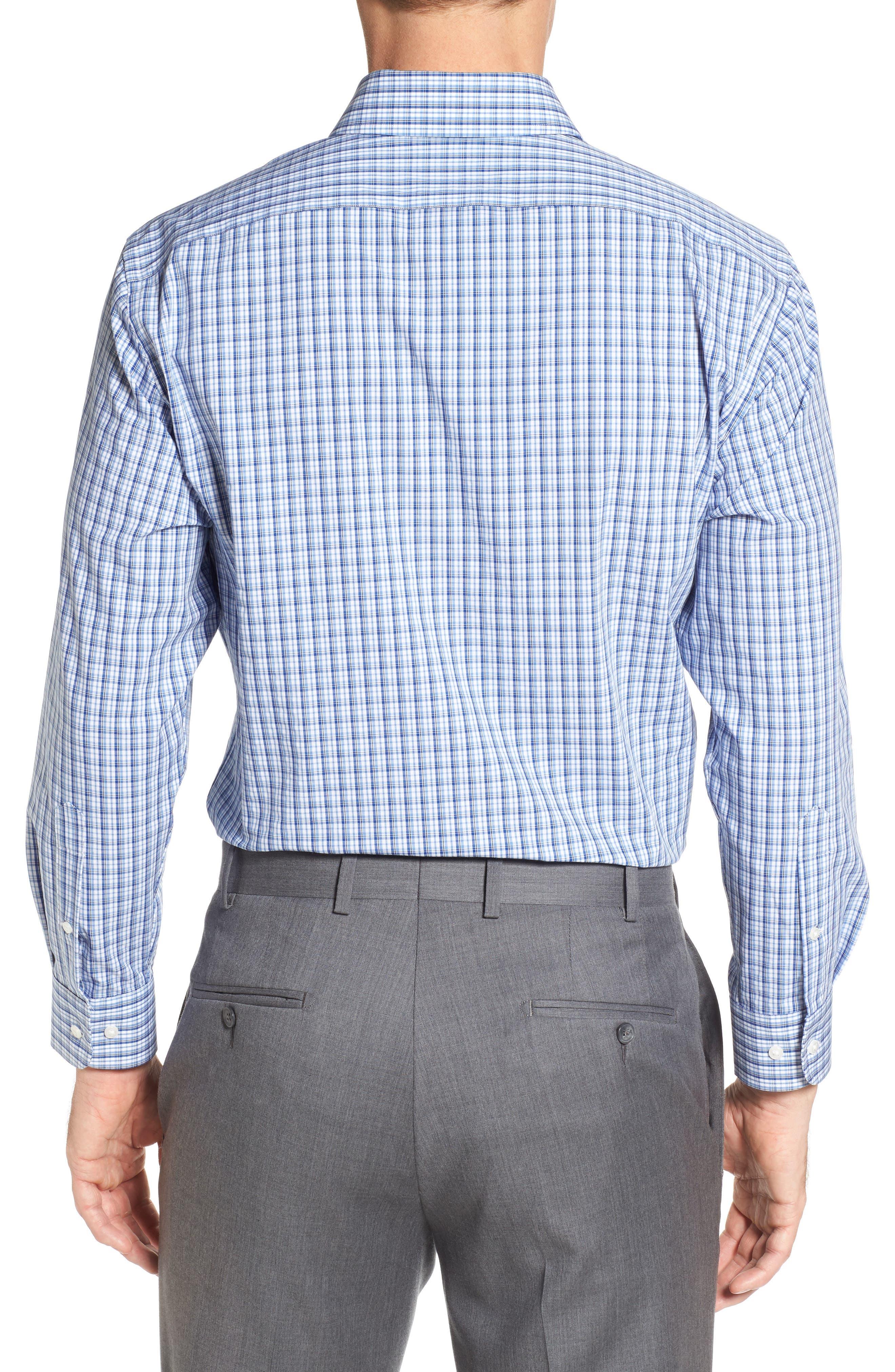 Tech-Smart Traditional Fit Stretch Plaid Dress Shirt,                             Alternate thumbnail 3, color,                             Blue True