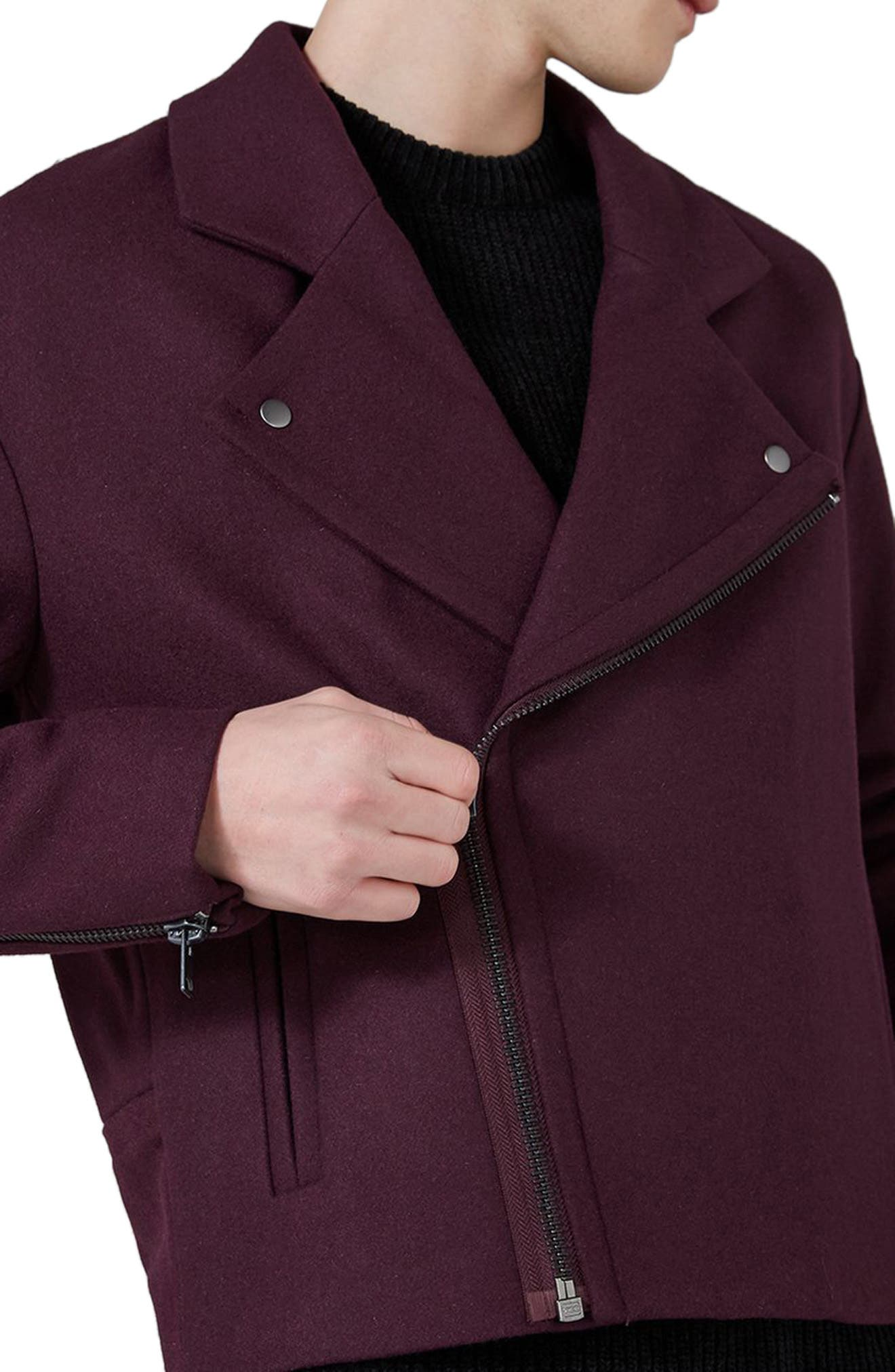 Alternate Image 3  - Topman Wool Blend Biker Jacket