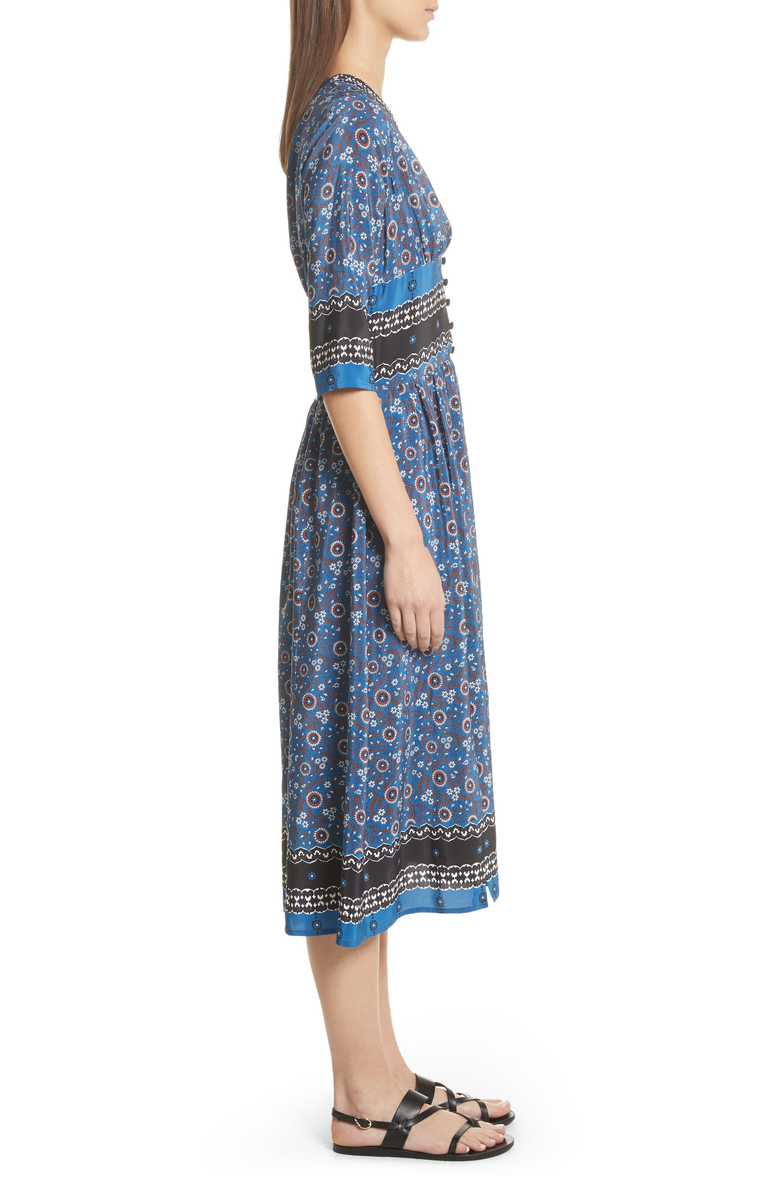 Tallulah Empire Waist Silk Midi Dress,                             Alternate thumbnail 3, color,                             Blue Multi