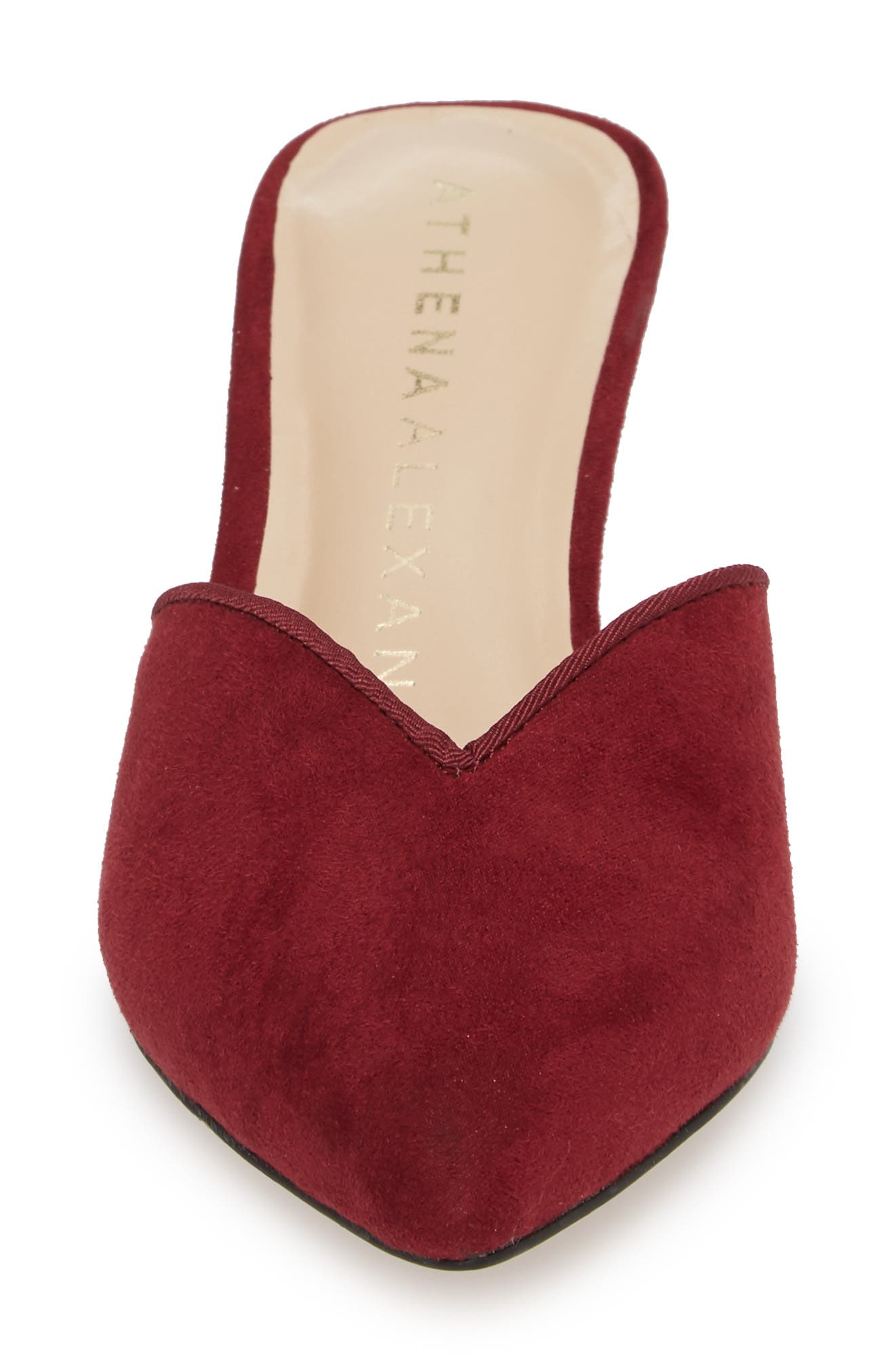 Jasper Pointy Toe Mule,                             Alternate thumbnail 6, color,                             Wine Suede