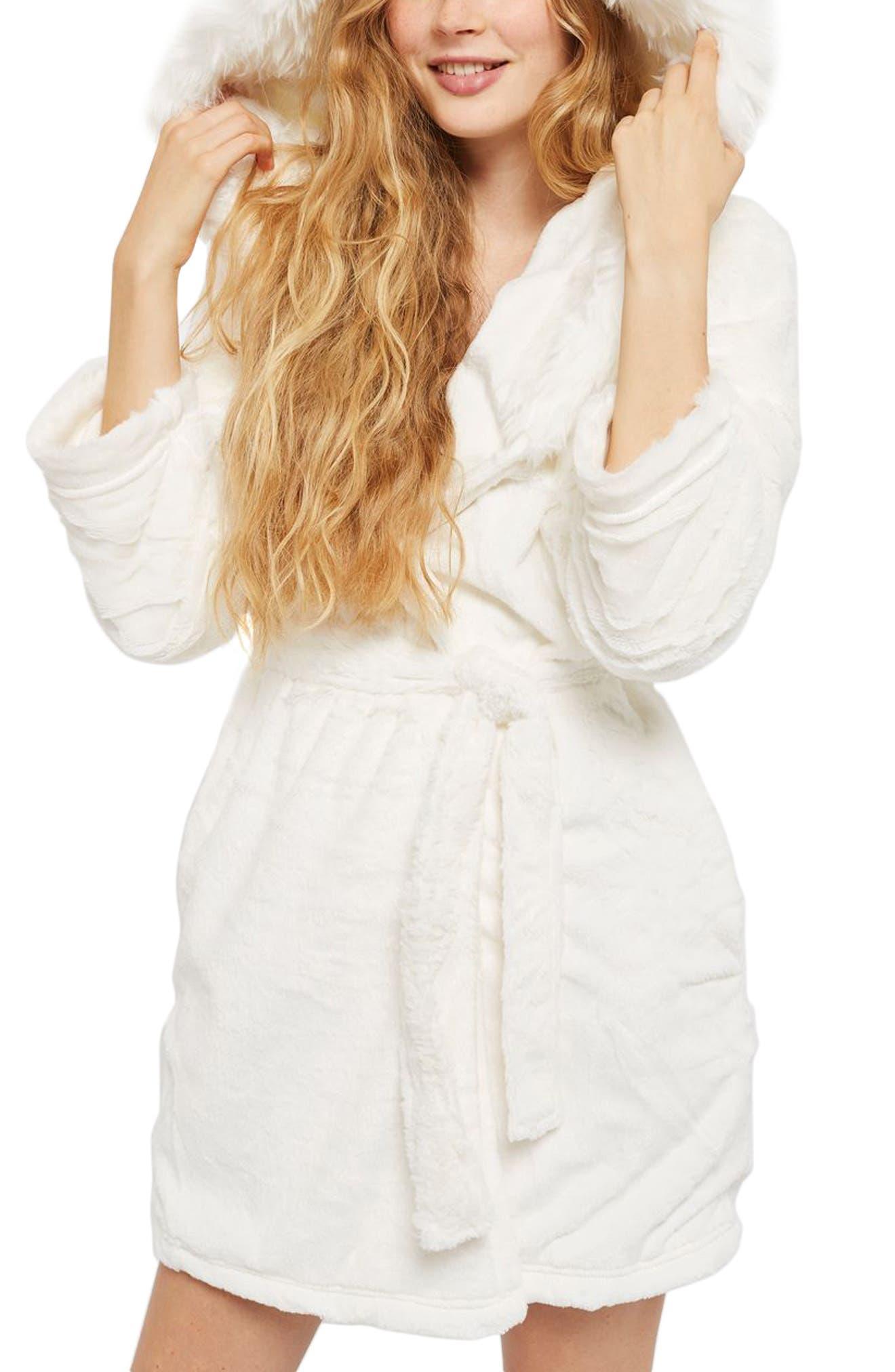 Faux Fur Hooded Short Robe,                             Alternate thumbnail 3, color,                             Cream